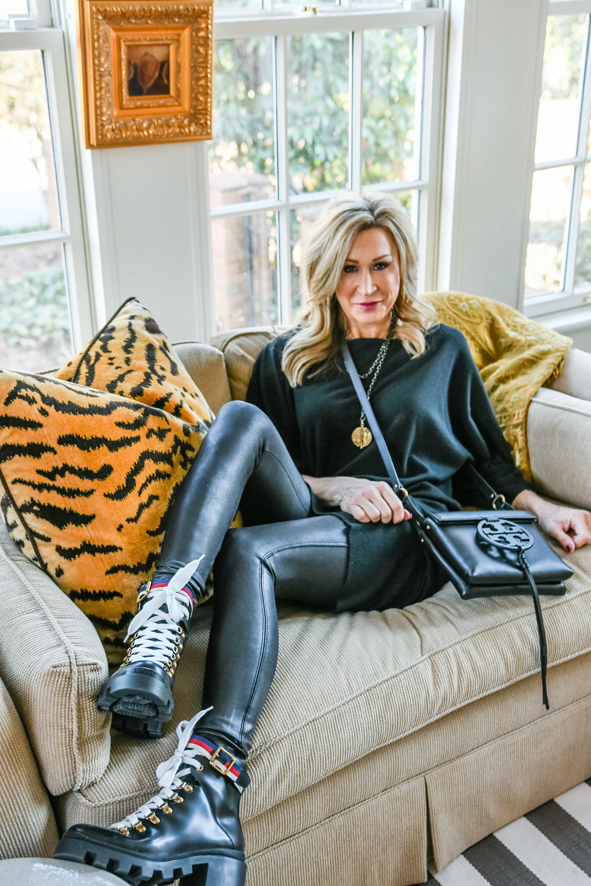 Spanx Moto Leggings with Combat Boots - Crazy Blonde Life