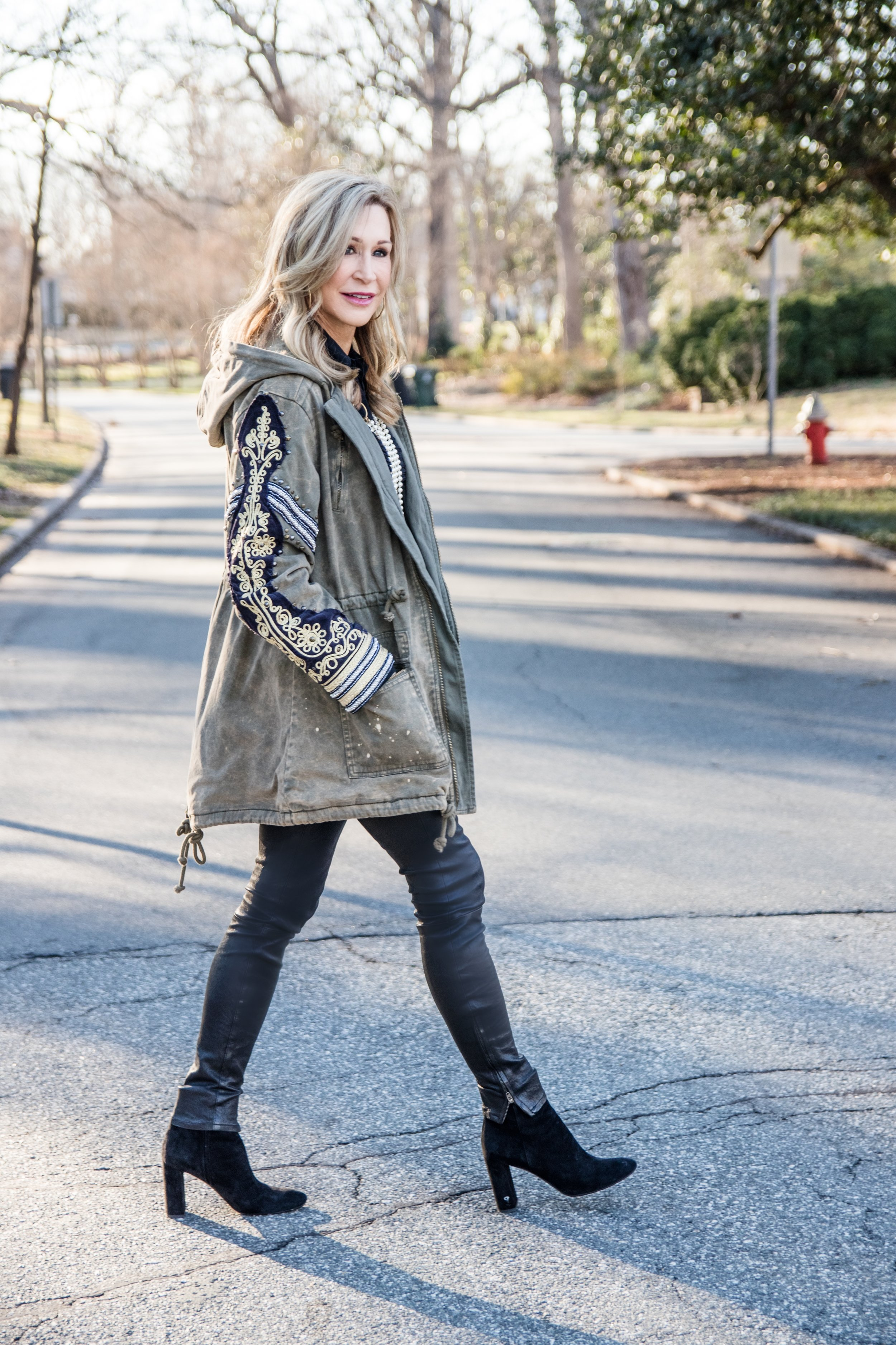 Military Jacket with Leather Pants - Crazy Blonde Life