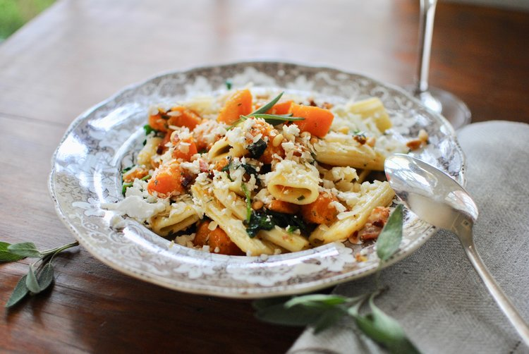 Butternut Squash, Spinach and Goat Cheese Pasta -