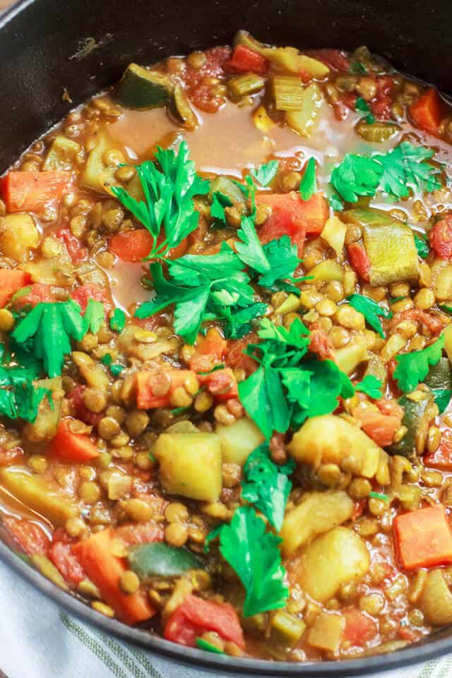 One Pot Vegetables & Lentil Recipe - Recipe from Oh Sweet Basil