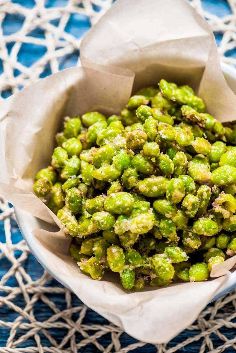 Crispy Parmesan Garlic Edemame - Recipe From Homemade Hooplah