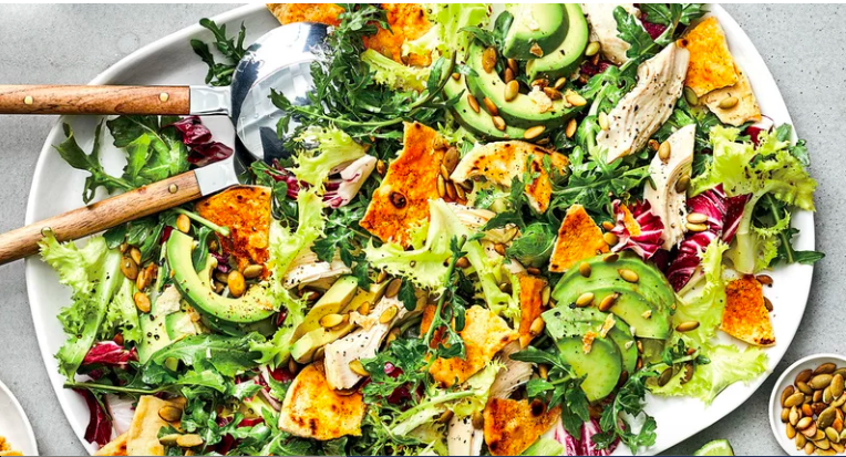 Peppery Greens Salad with Avocado, Chicken, and Tortilla Croutons