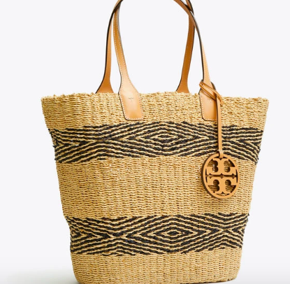 Miller Striped Straw Tote - Tory Burch