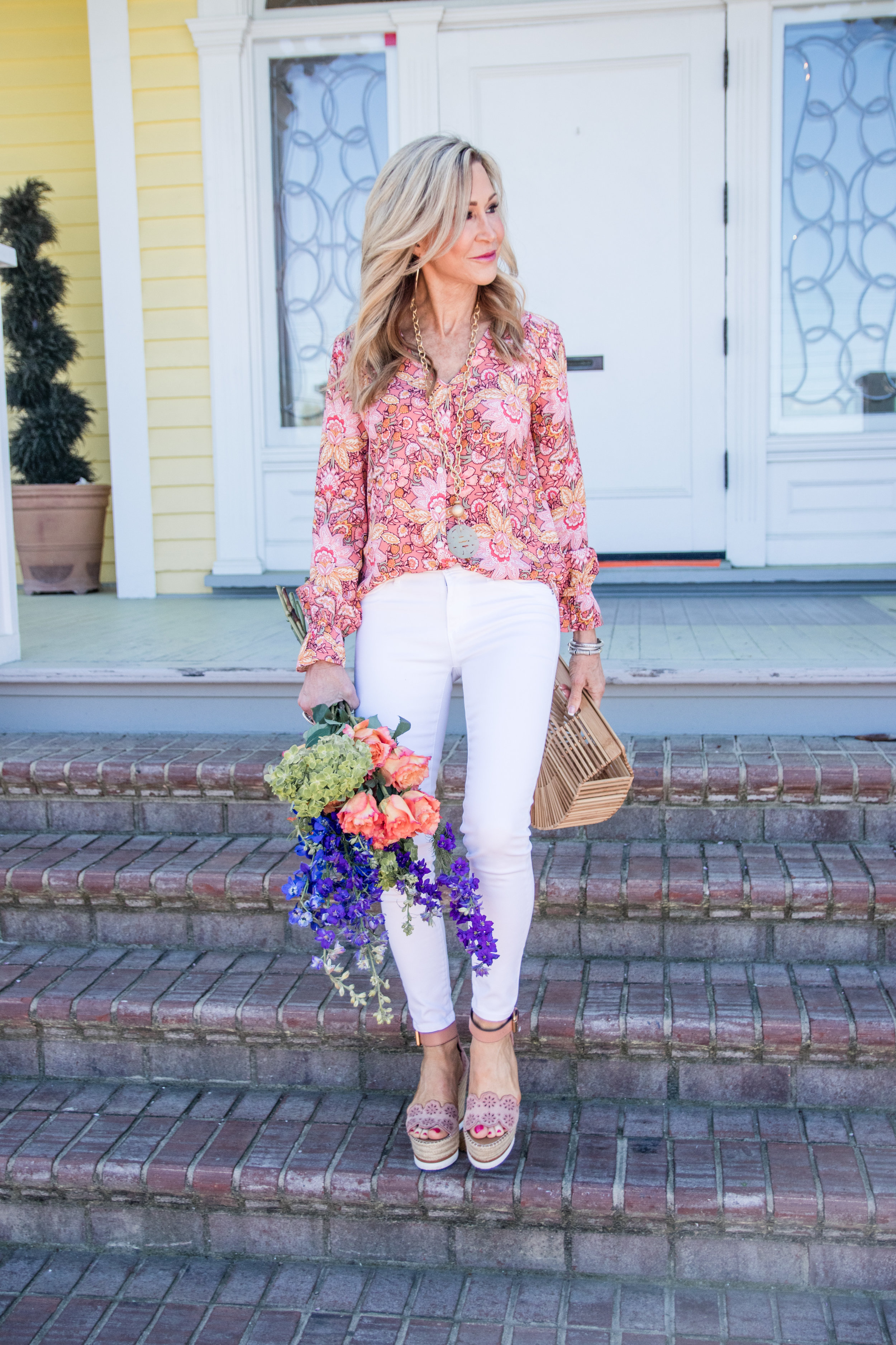 Loft Blouse with White Jeans - Crazy Blonde Life