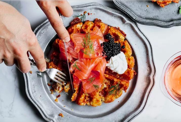 Tater Tot Waffles with Smoked Salmon & Caviar