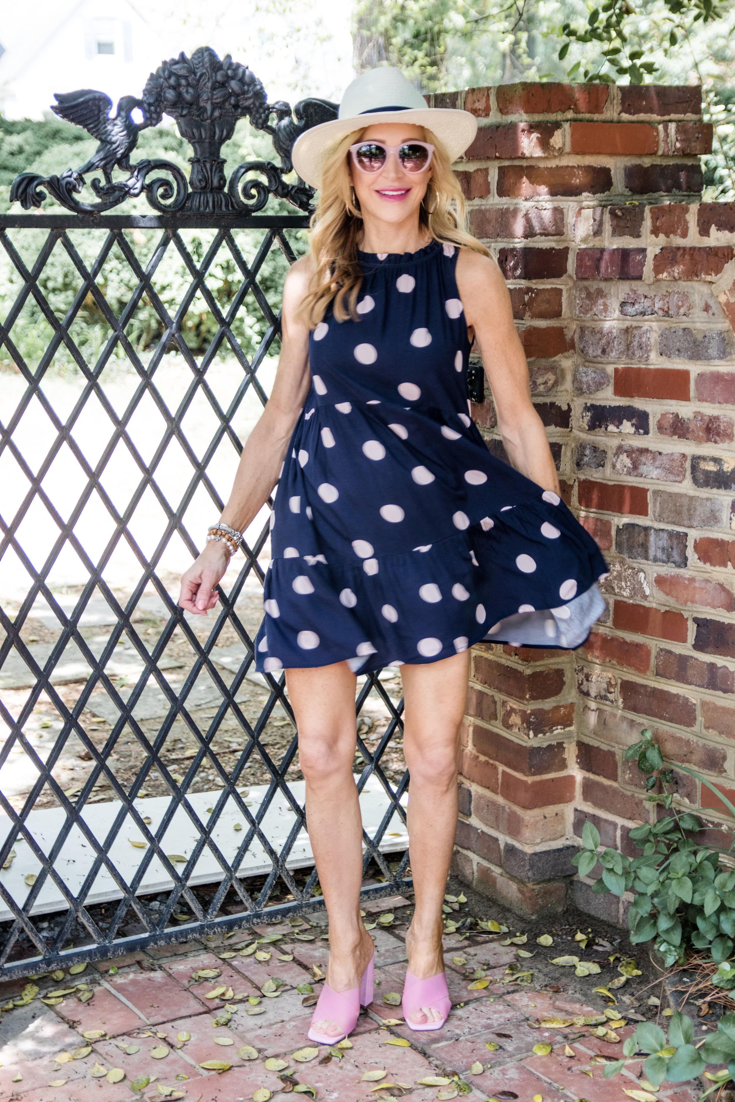 Pink Polka Dot Dress from Loft with TopShop clear shoes