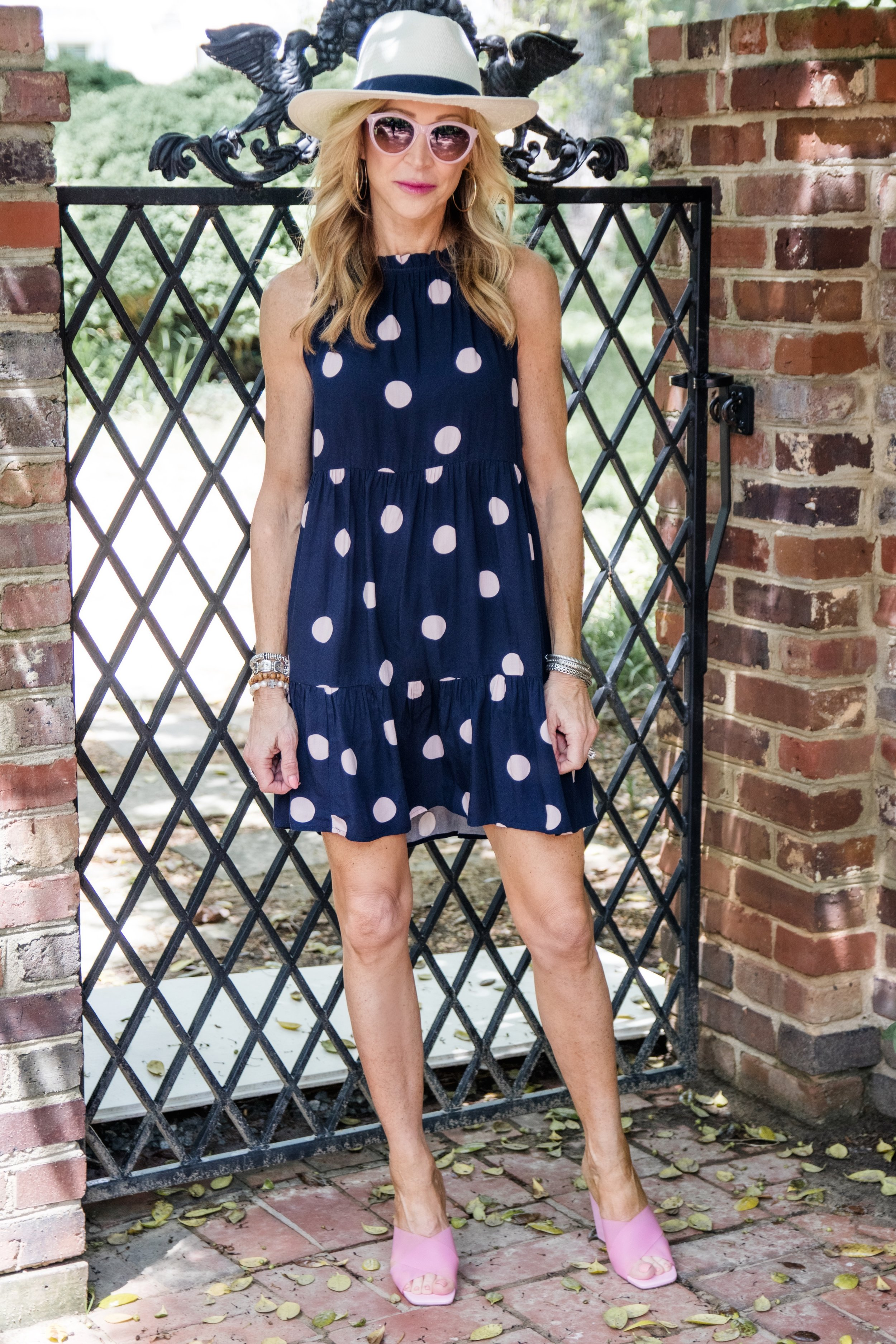 Pink Polka Dot Dress from Loft with Clear Mules from TopShop