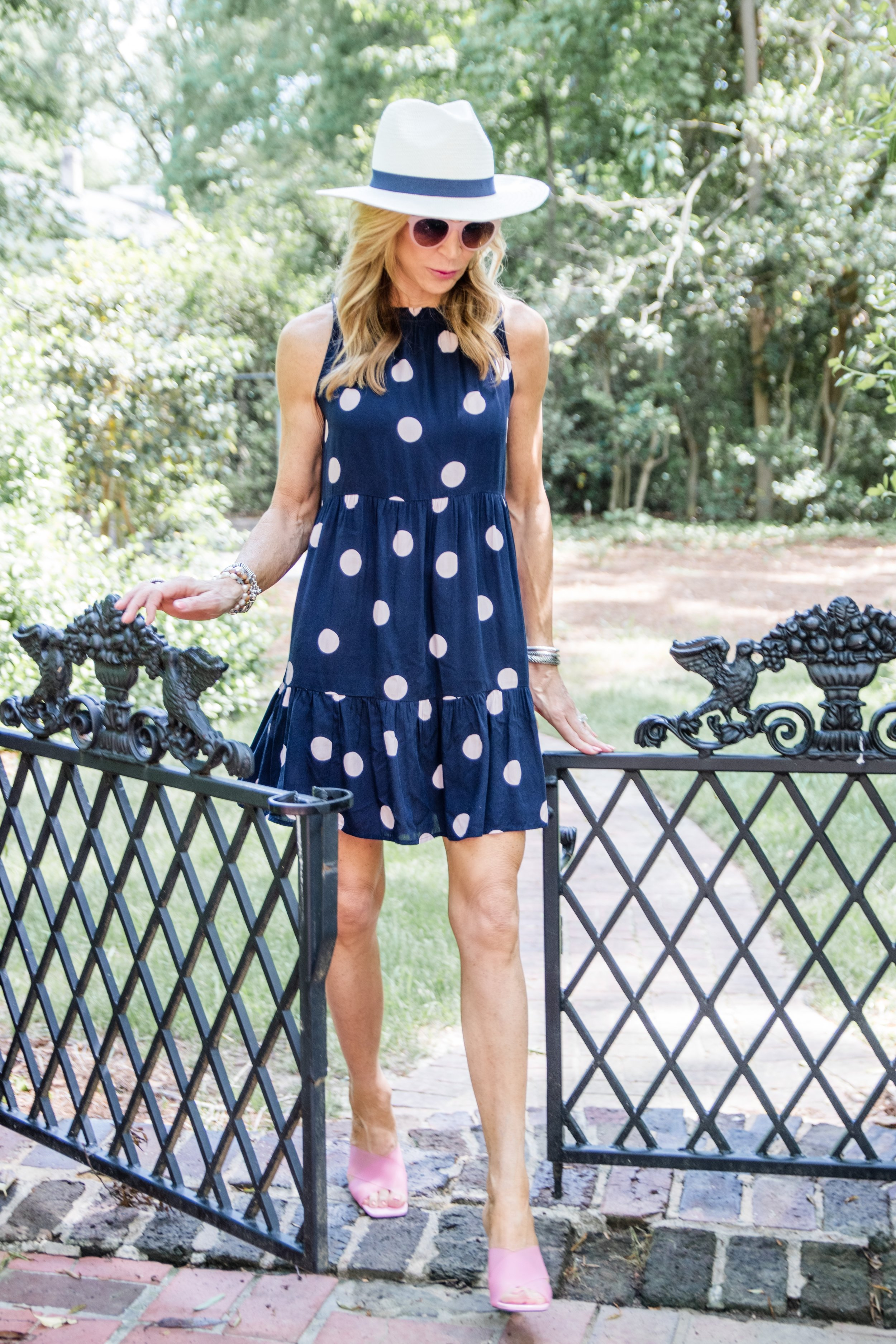 Pink Polka Dot Dress from Loft with Clear Shoes from TopShop