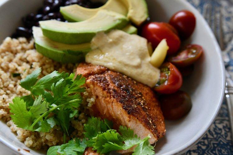 Cilantro Lime Quinoa Bowls with Salmon