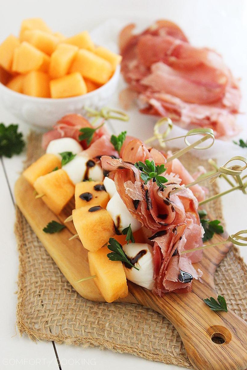 Prosciutto with Melon Skewers