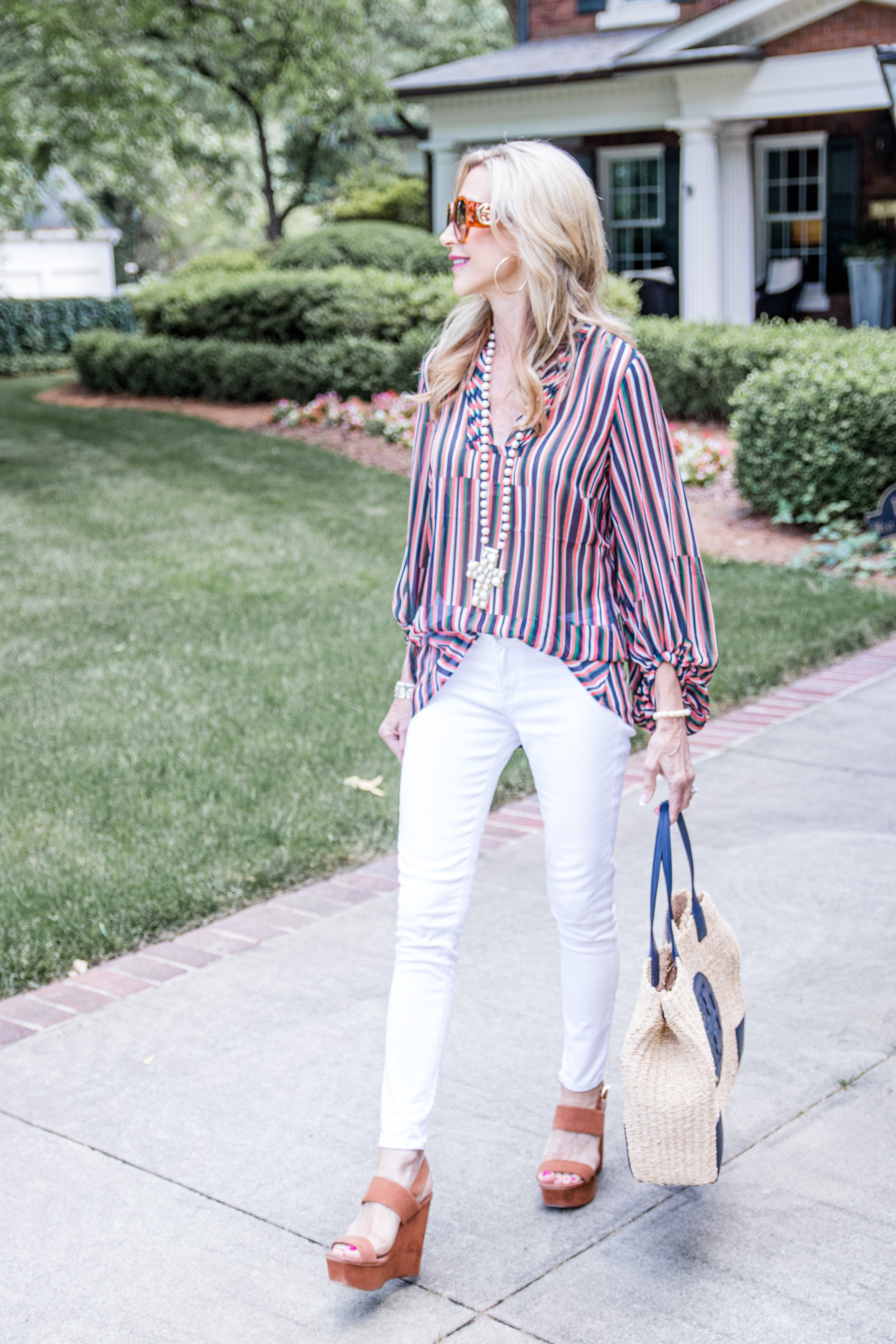 Cabi Blouse Styled with White Jeans & Tory Burch Bag - Crazy Blonde Life