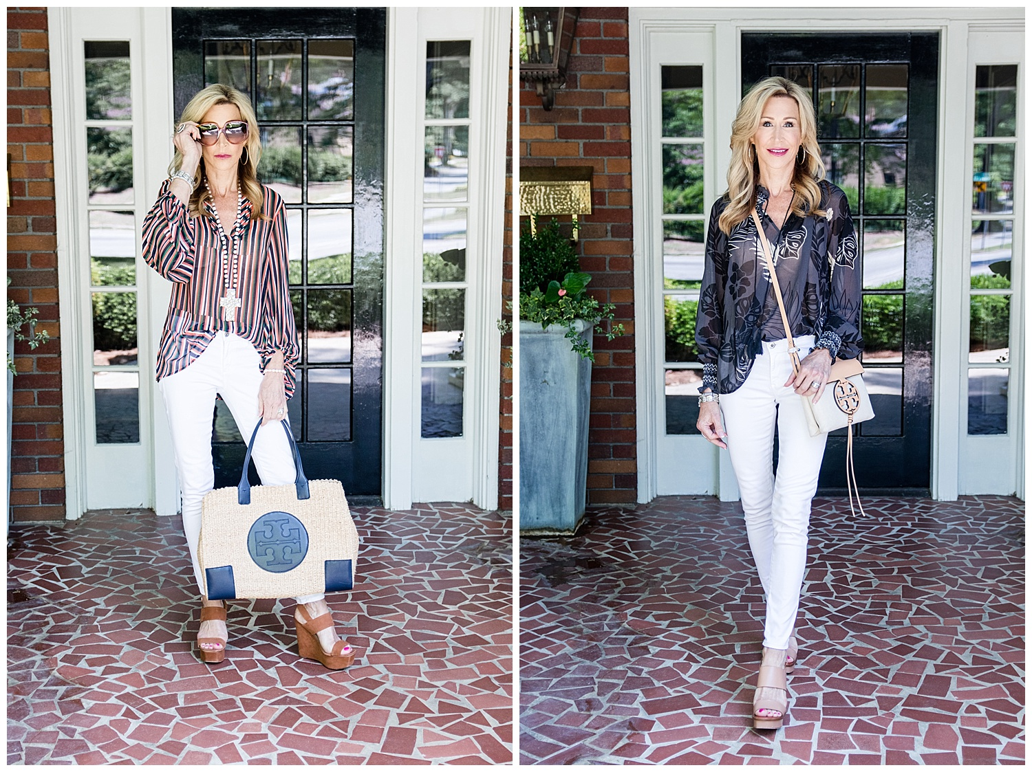 Cabi Blouses Styled with White Jeans & Tory Burch Bags - Crazy Blonde Life