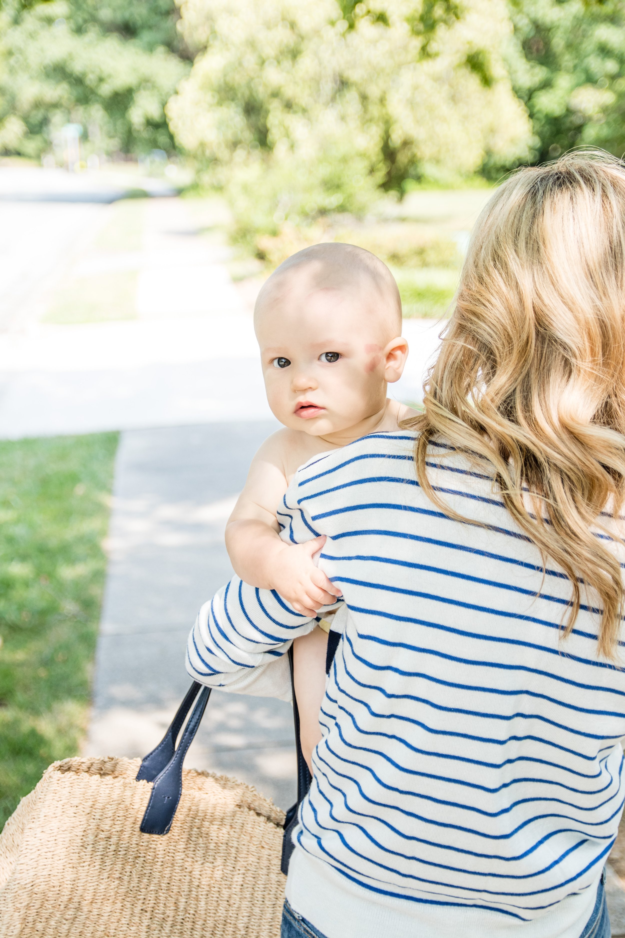 Classic Blue & White Striped Sweater with Tory Burch Tote - Crazy Blonde Life