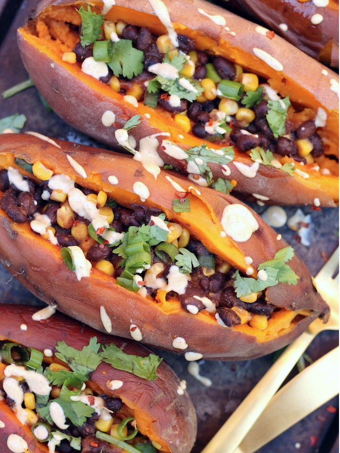 Slow Cooker Loaded Baked Sweet Potatoes