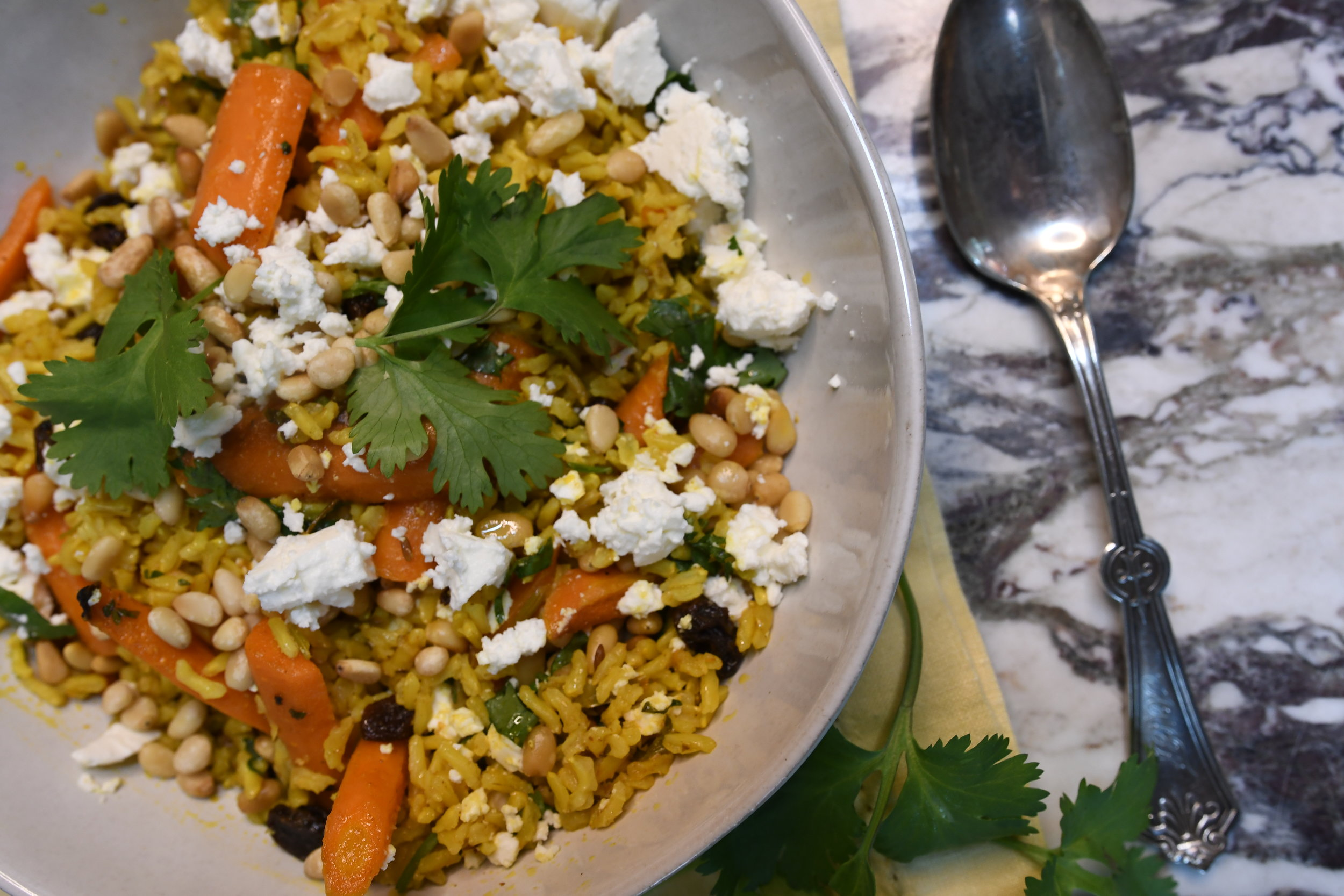 Brown Rice Salad with Roasted Carrots, Feta and Pine Nuts