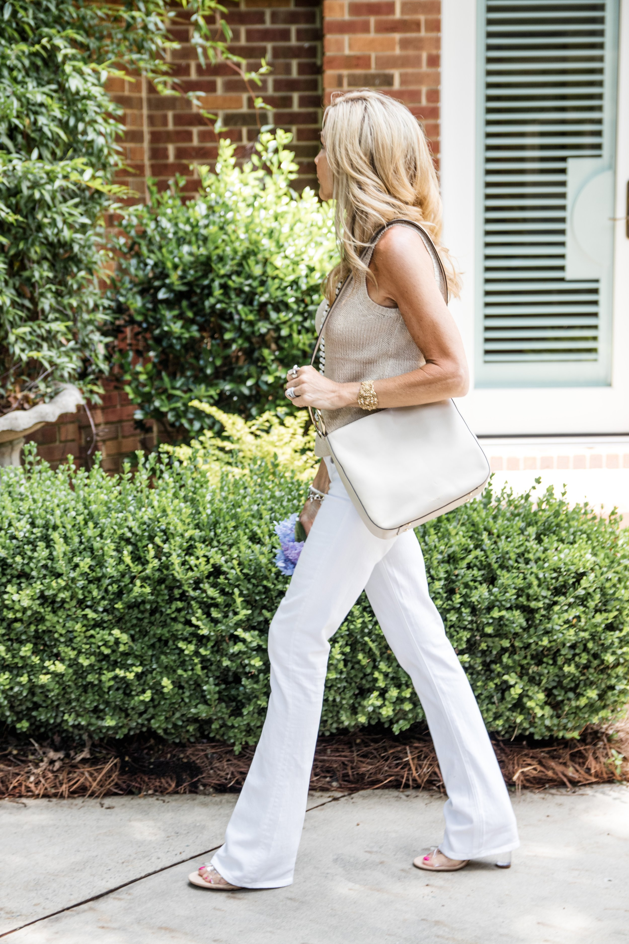 Loft Sweater with White Flare Jeans & Zara Shoes - Crazy Blonde Life
