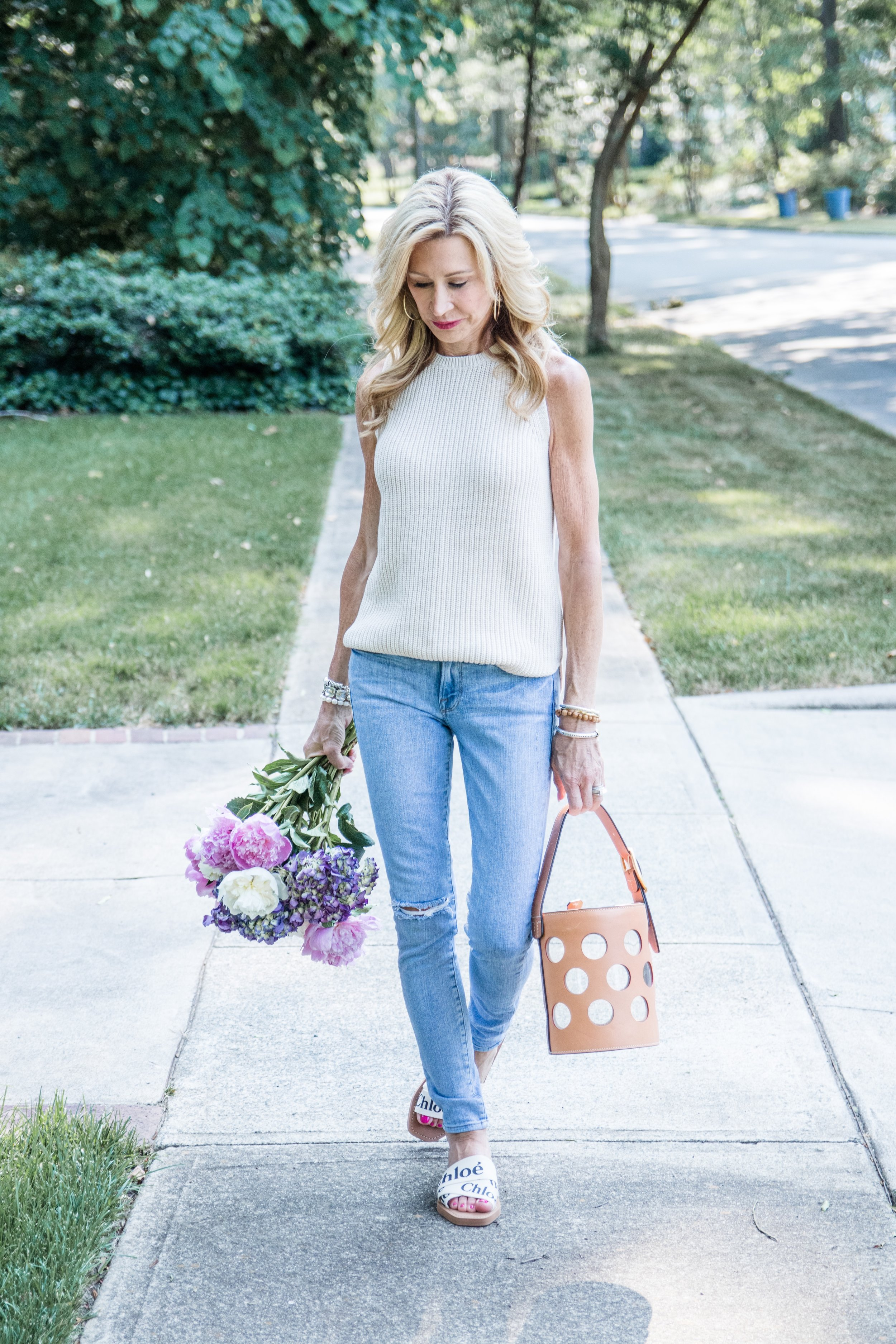 Loft sweater, Frame denim jeans, Tory Burch bag, chloe sandals - Crazy Blonde Style
