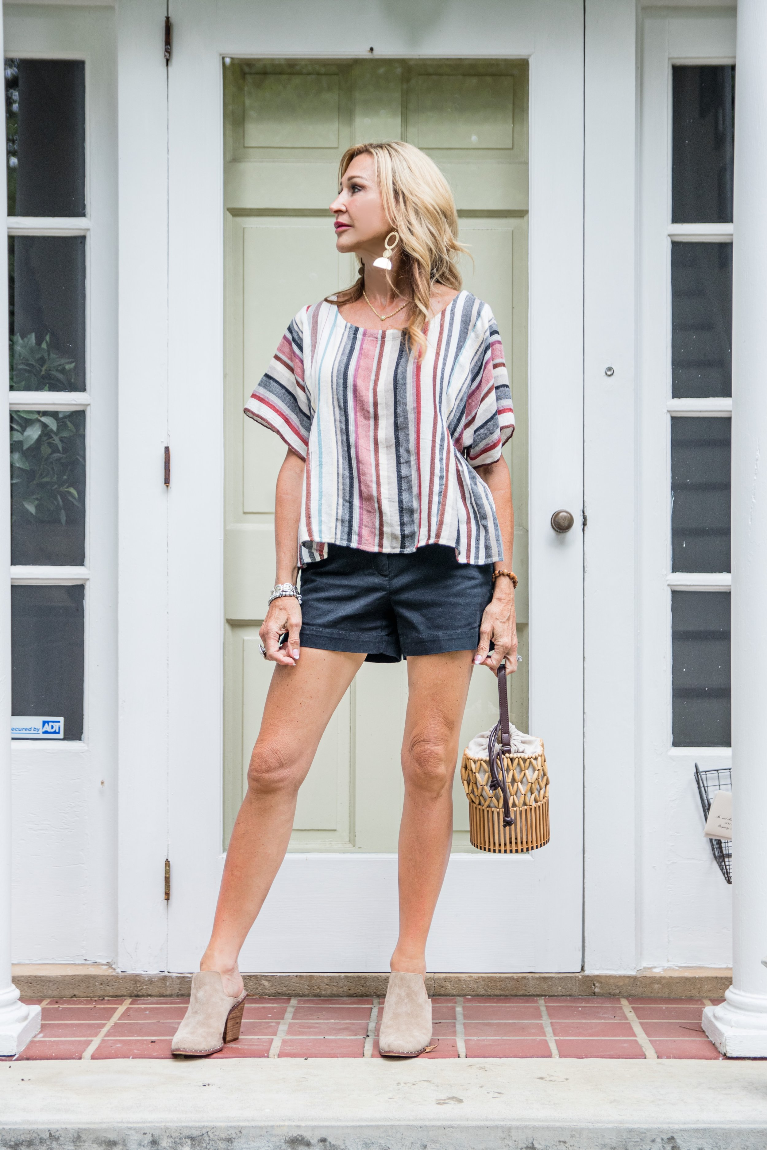 Loft shorts with Odell's blouse and Chinese Laundry Mules - Crazy Blonde Life