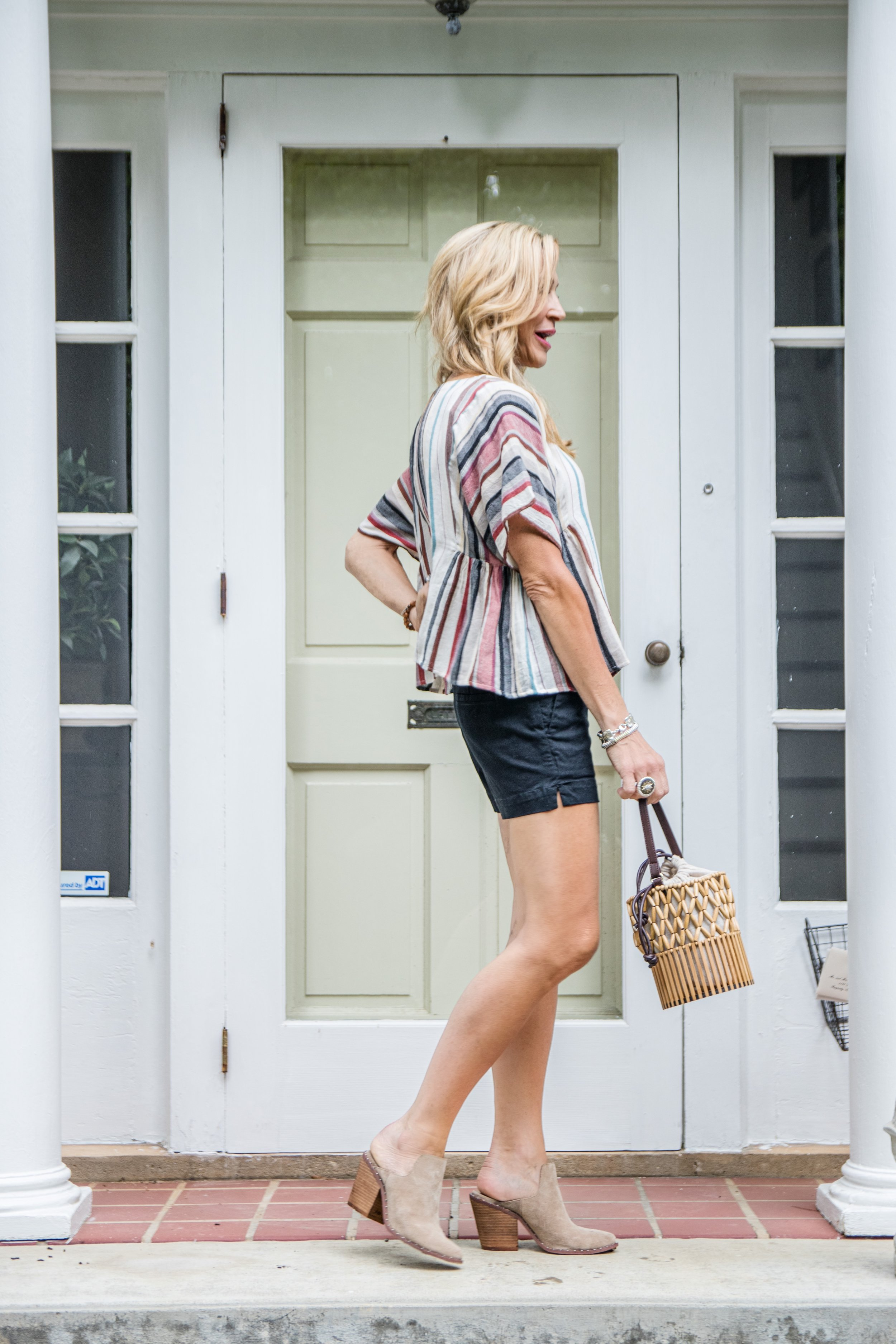 Loft black shorts with Odell's blouse and Chinese Laundry Mules - Crazy Blonde Life