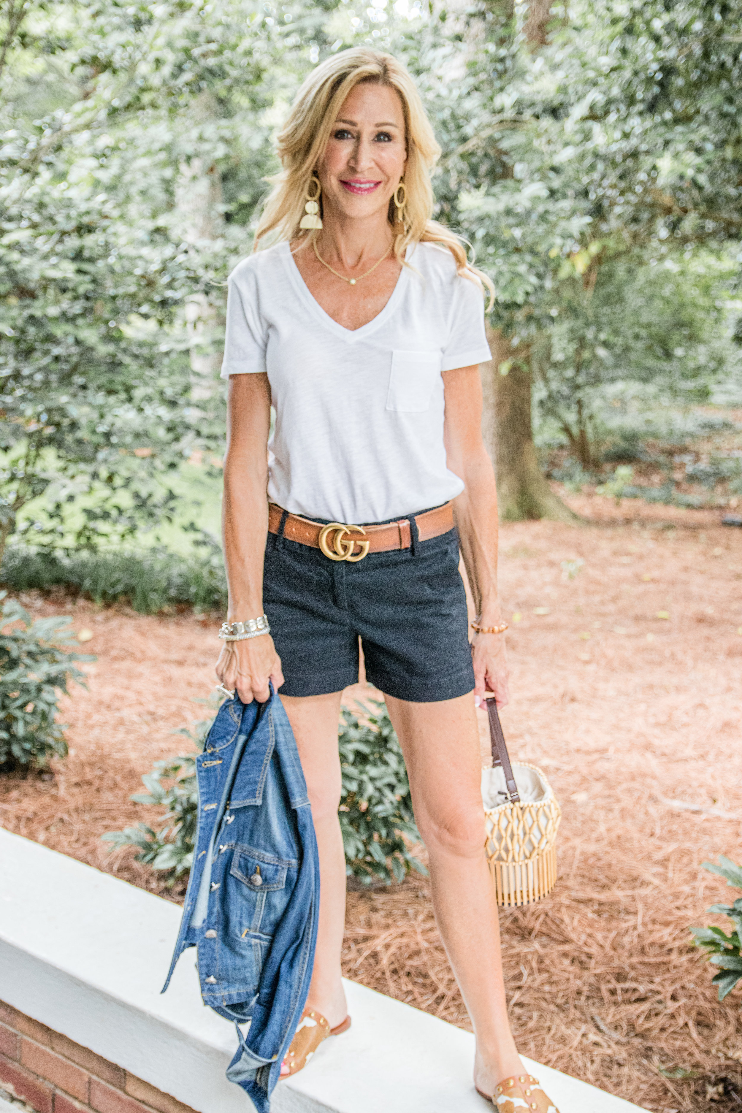 Loft black shorts with denim jacket, Gucci belt and Tory Burch mules - Crazy Blonde Life