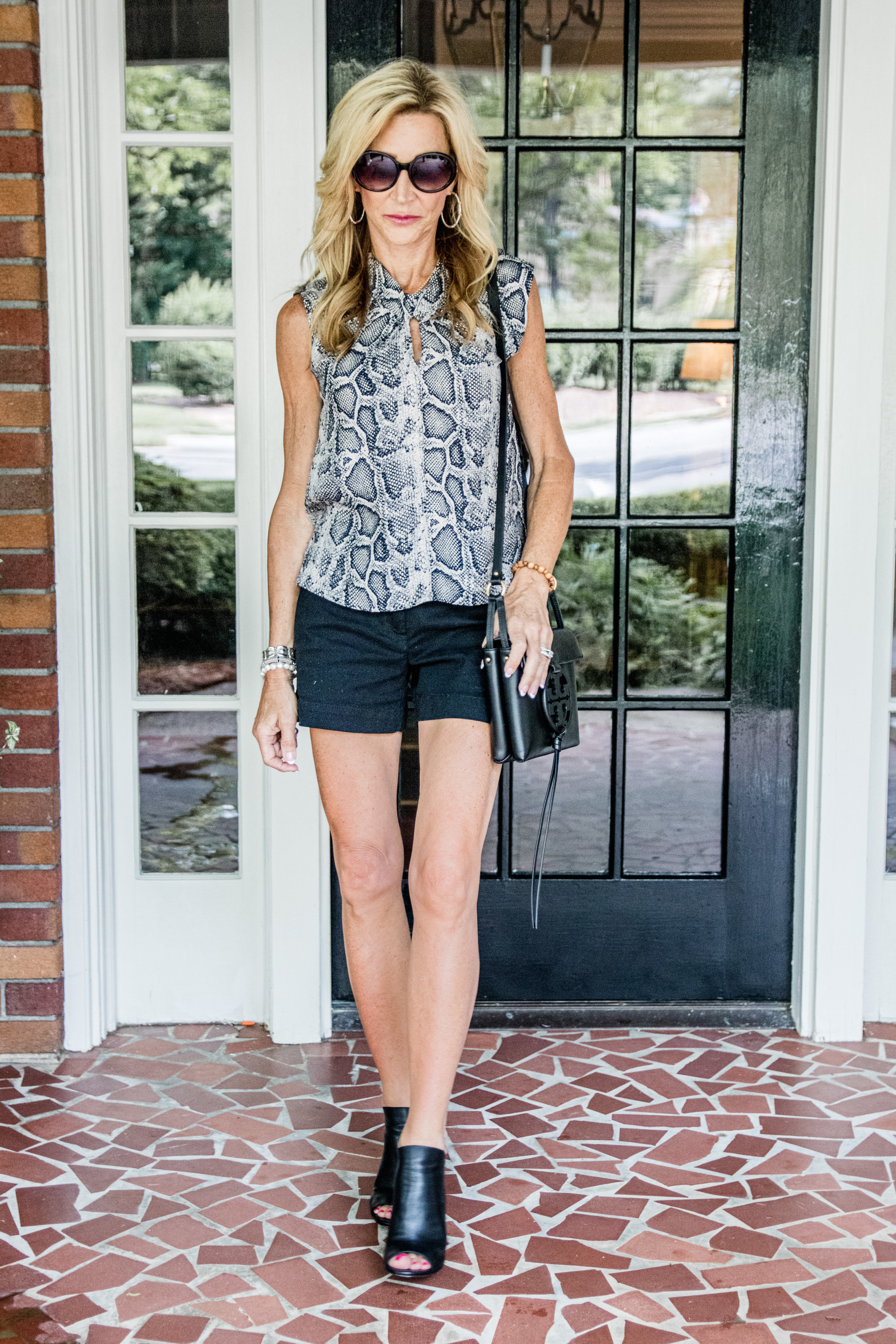 Loft black shorts with Rebecca Taylor blouse and Alexander Wang mules - Crazy Blonde Life