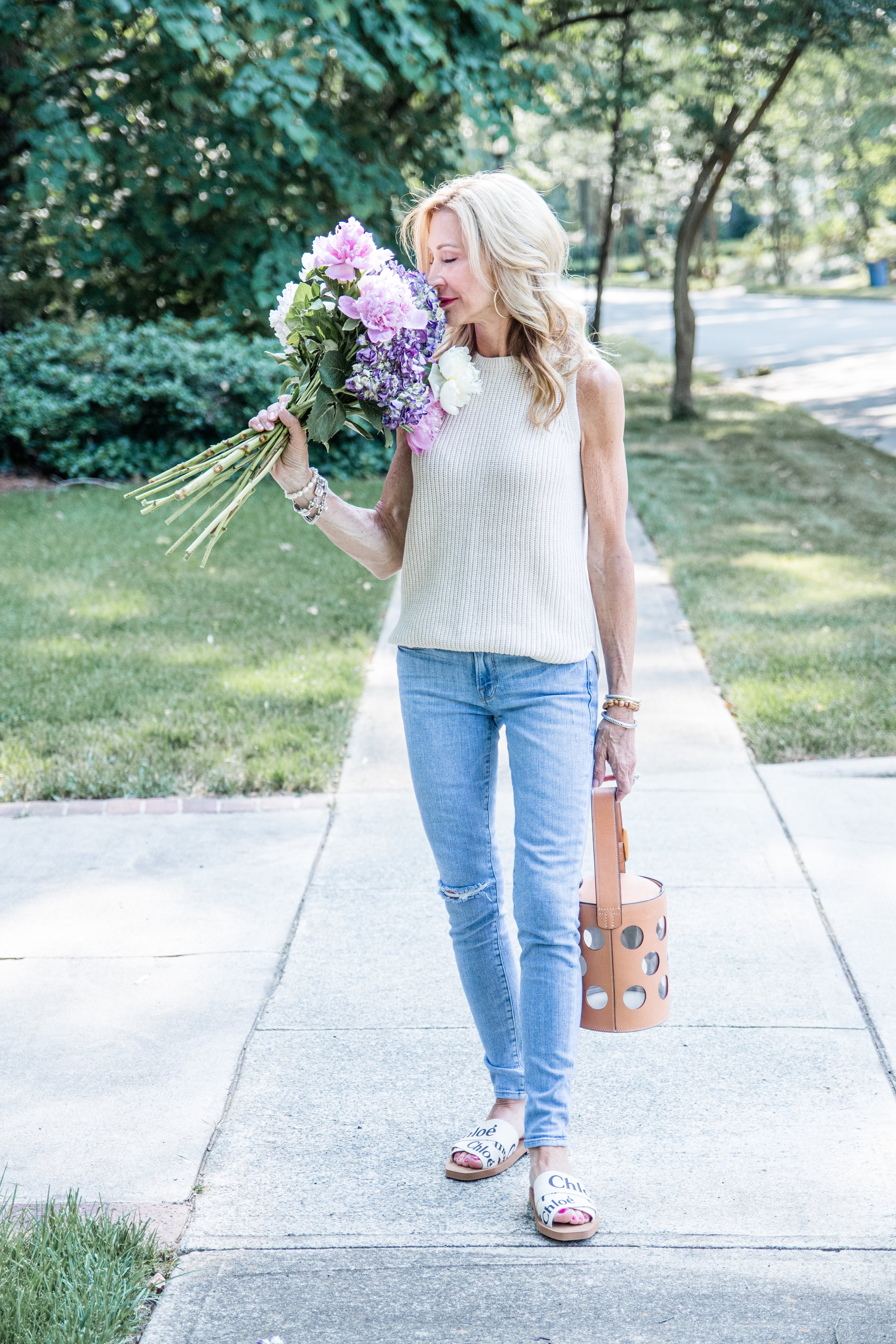 Casual Spring Outfit - Chloe Sandals, Frame Denim Jeans and Loft Sweater - Crazy Blonde Life