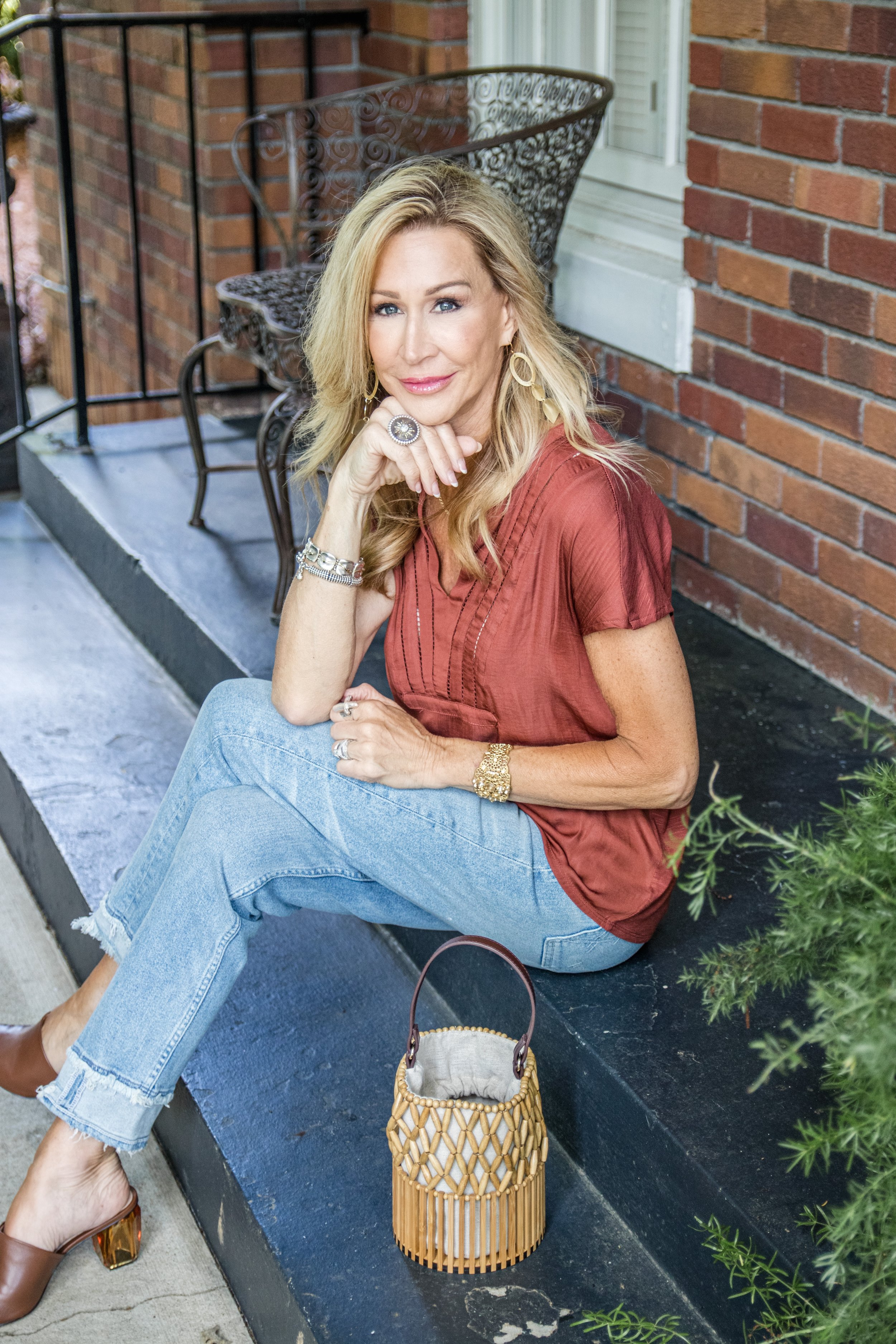 Casual Spring Outfit - Loft top, McGuire jeans, Zara Shoes and bag