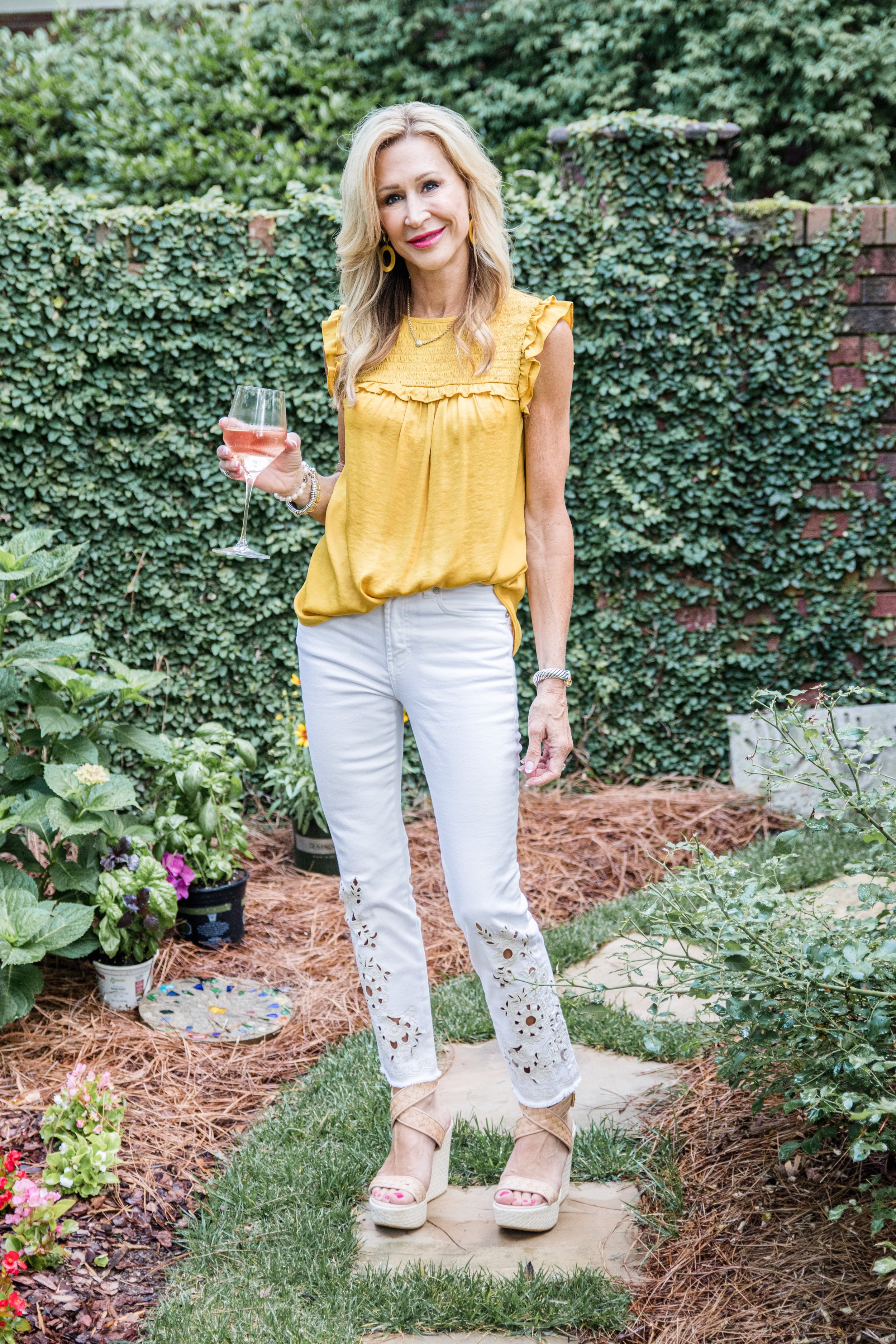 Casual Spring Outfit - Loft top and embroidered jeans with Stuart Weitzman Shoes