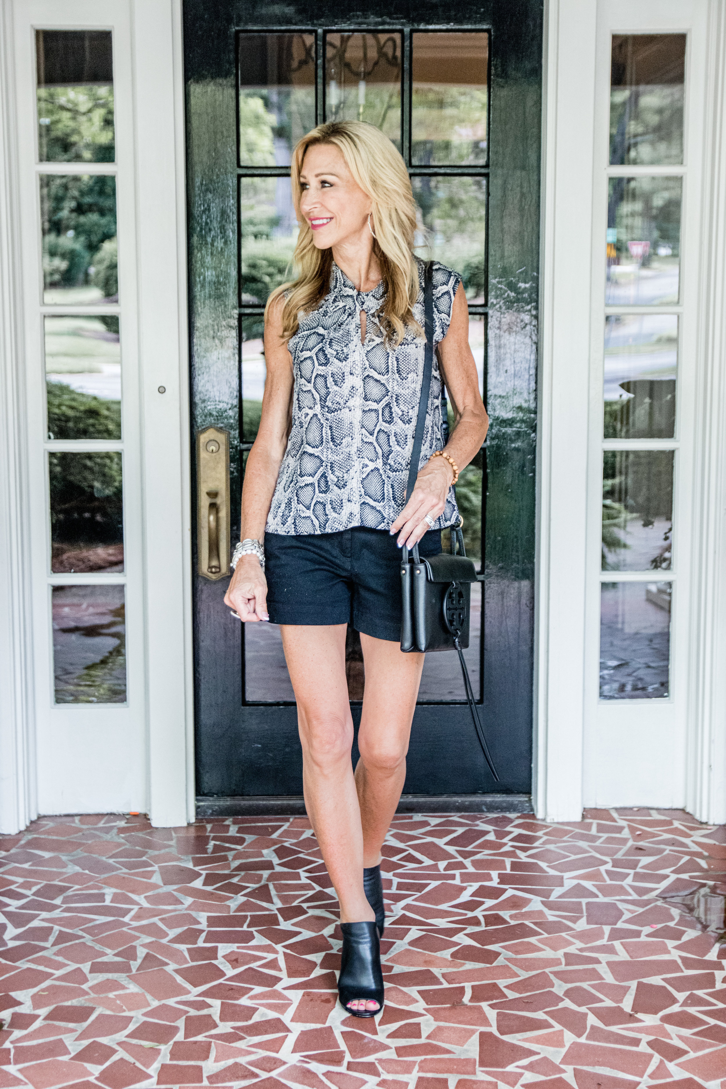 Casual Spring Outfit - Loft short, Rebecca Taylor blouse