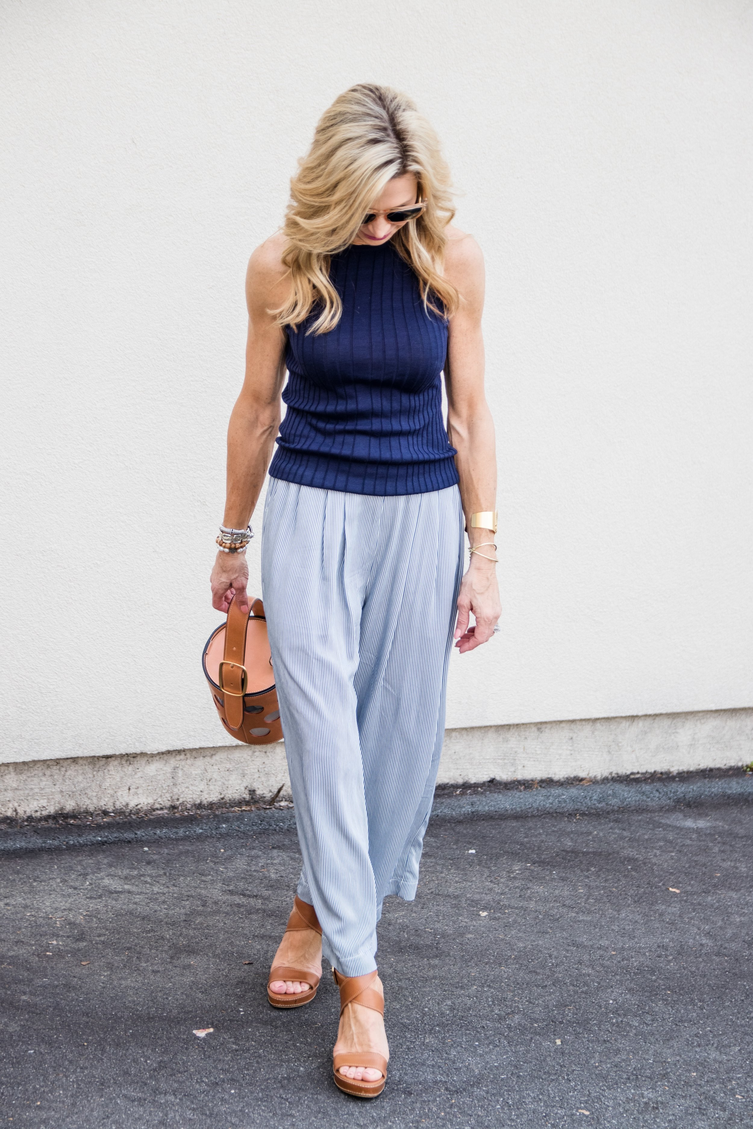 Casual spring outfit - Trina Turk top