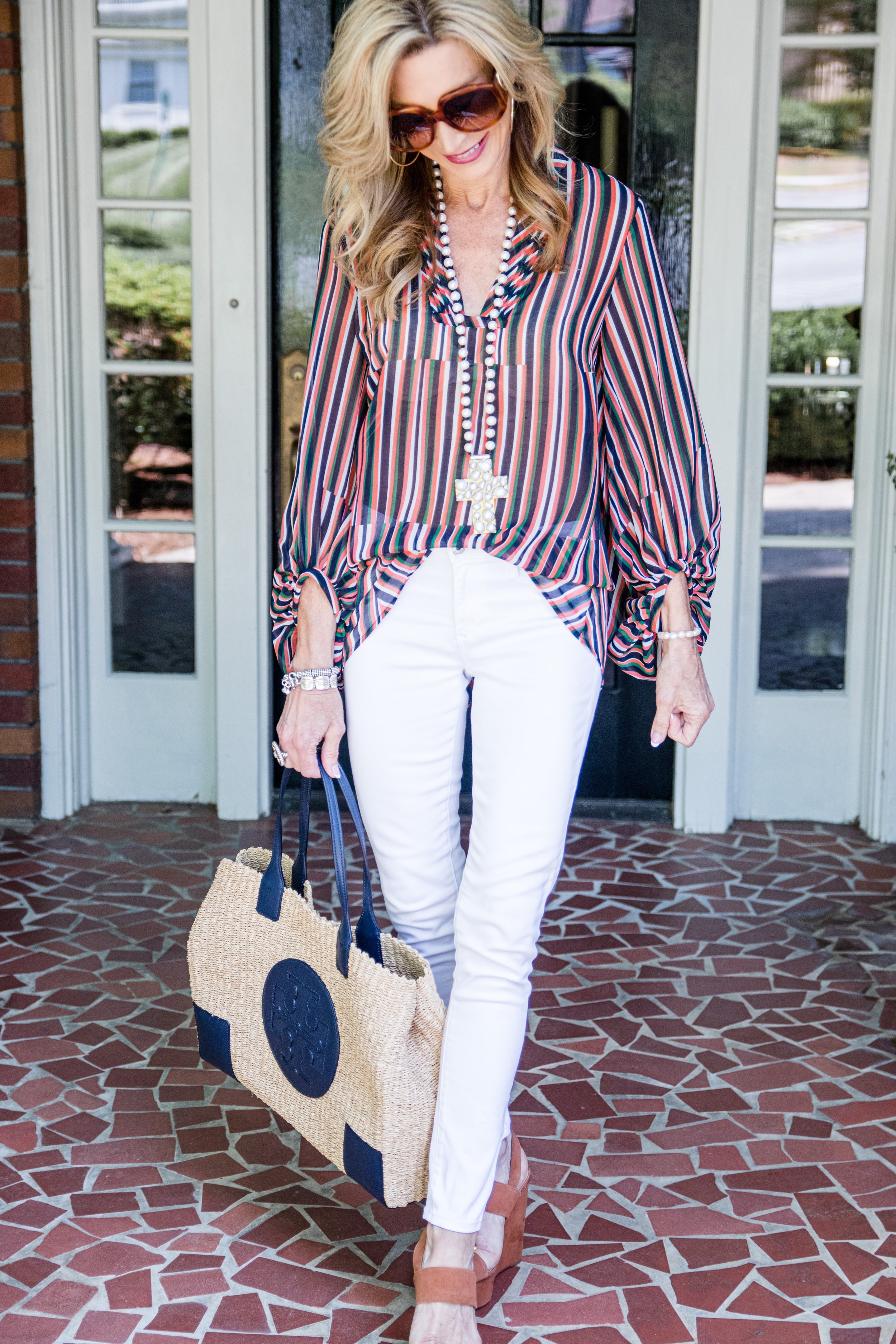 Casual Spring Outfit - Cabi top with white jeans and Tory Burch bag
