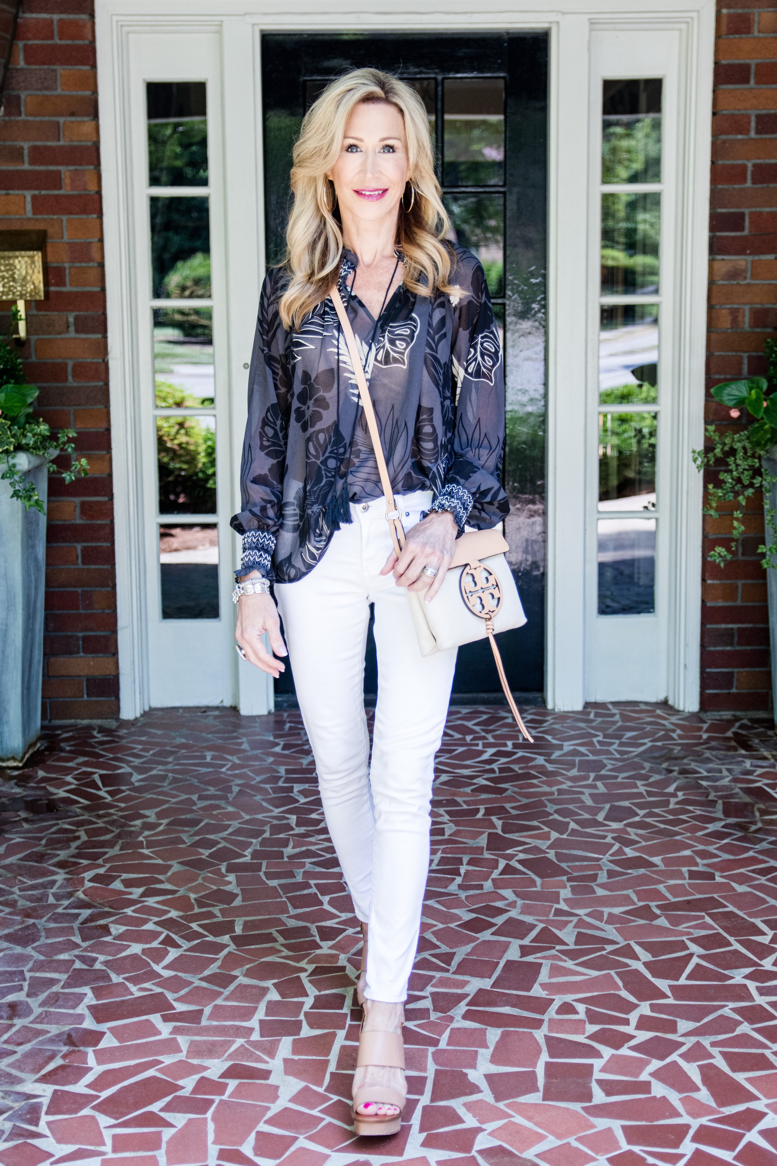 Casual Spring Outfit- Cabi top with white jeans and Tory Burch bag