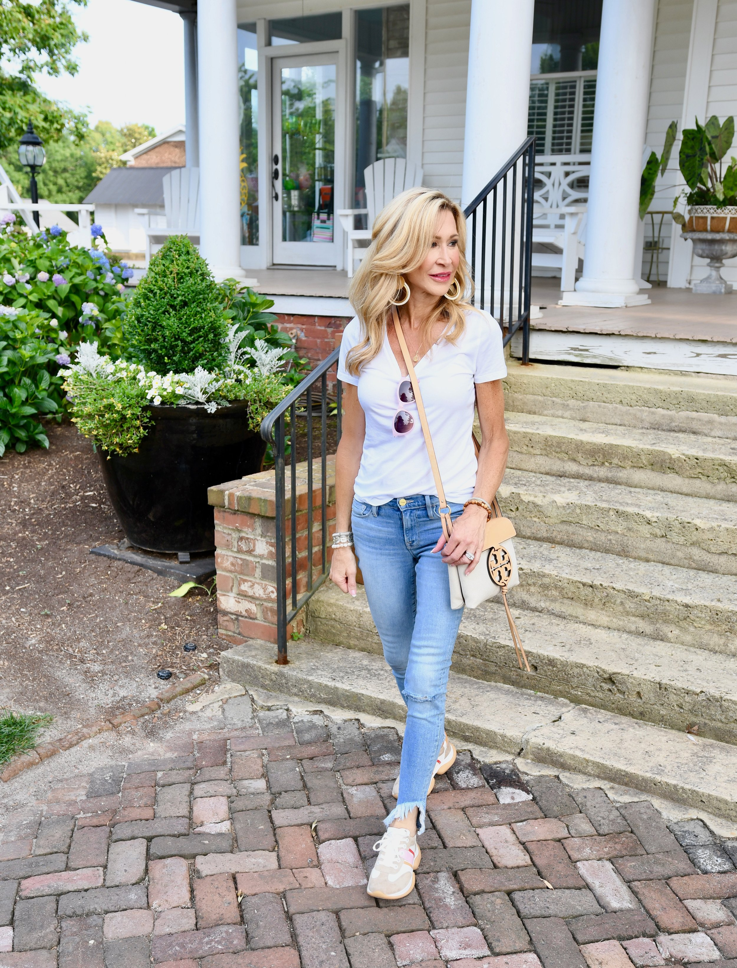 Casual Spring Outfit - Tory Burch bubble sneakers, Frame Denim jeans, white tee and Tory Burch Bag