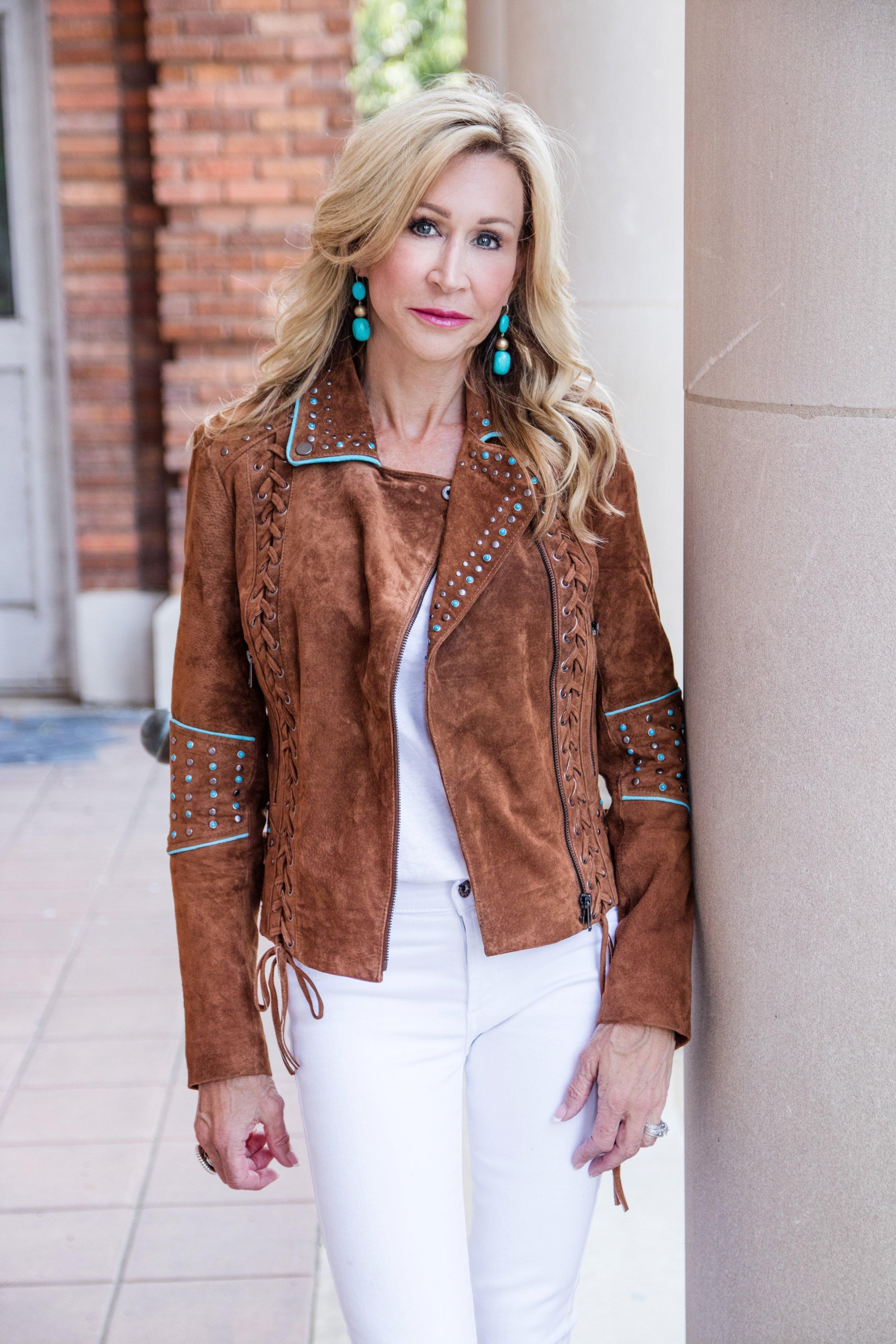 Casual Spring Outfit - Boston Proper suede jacket white jacket, Slane earrings