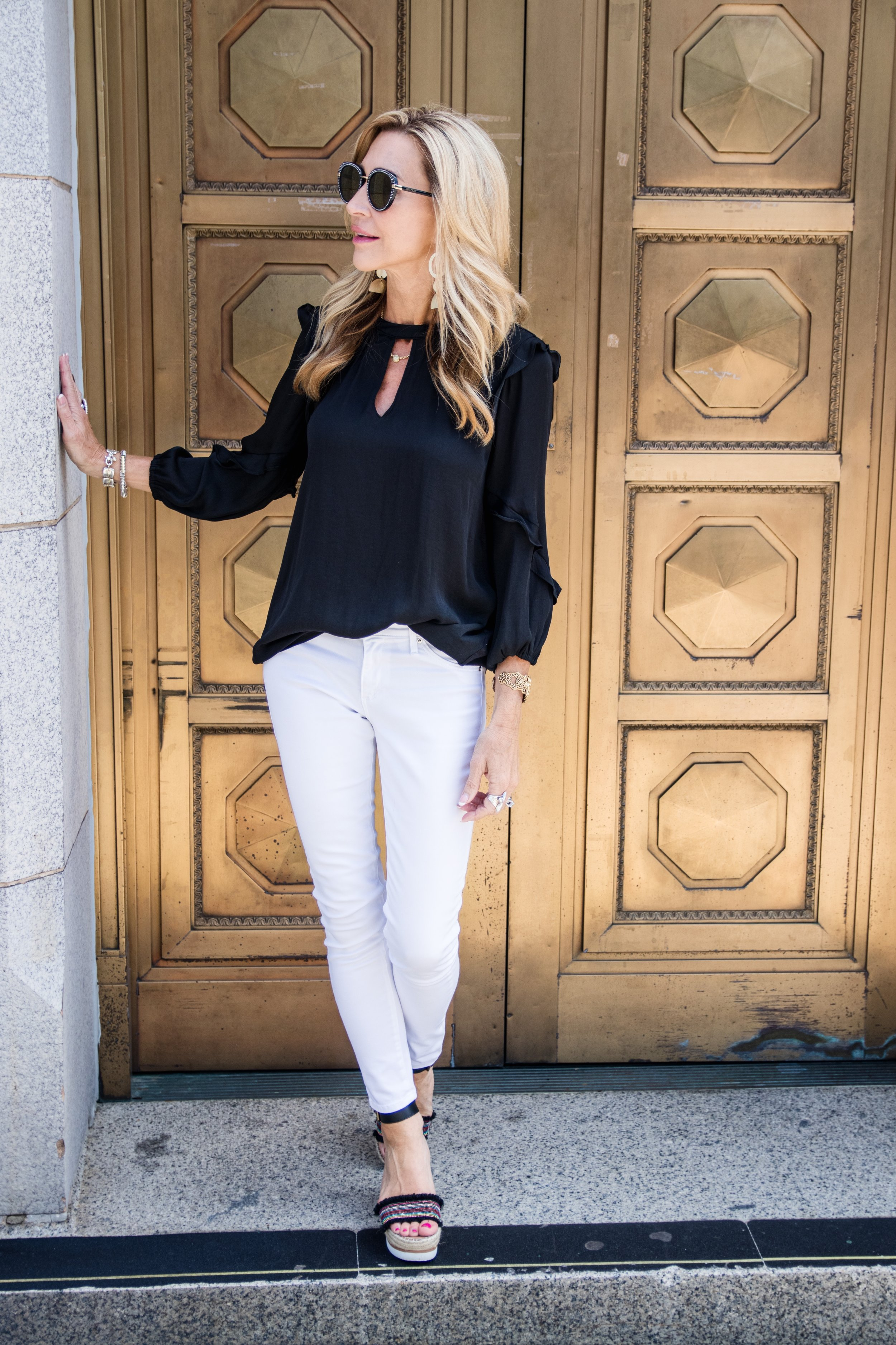 Casual Spring Outfit, Anthropologie top, white jeans and Vaneliespadrilles