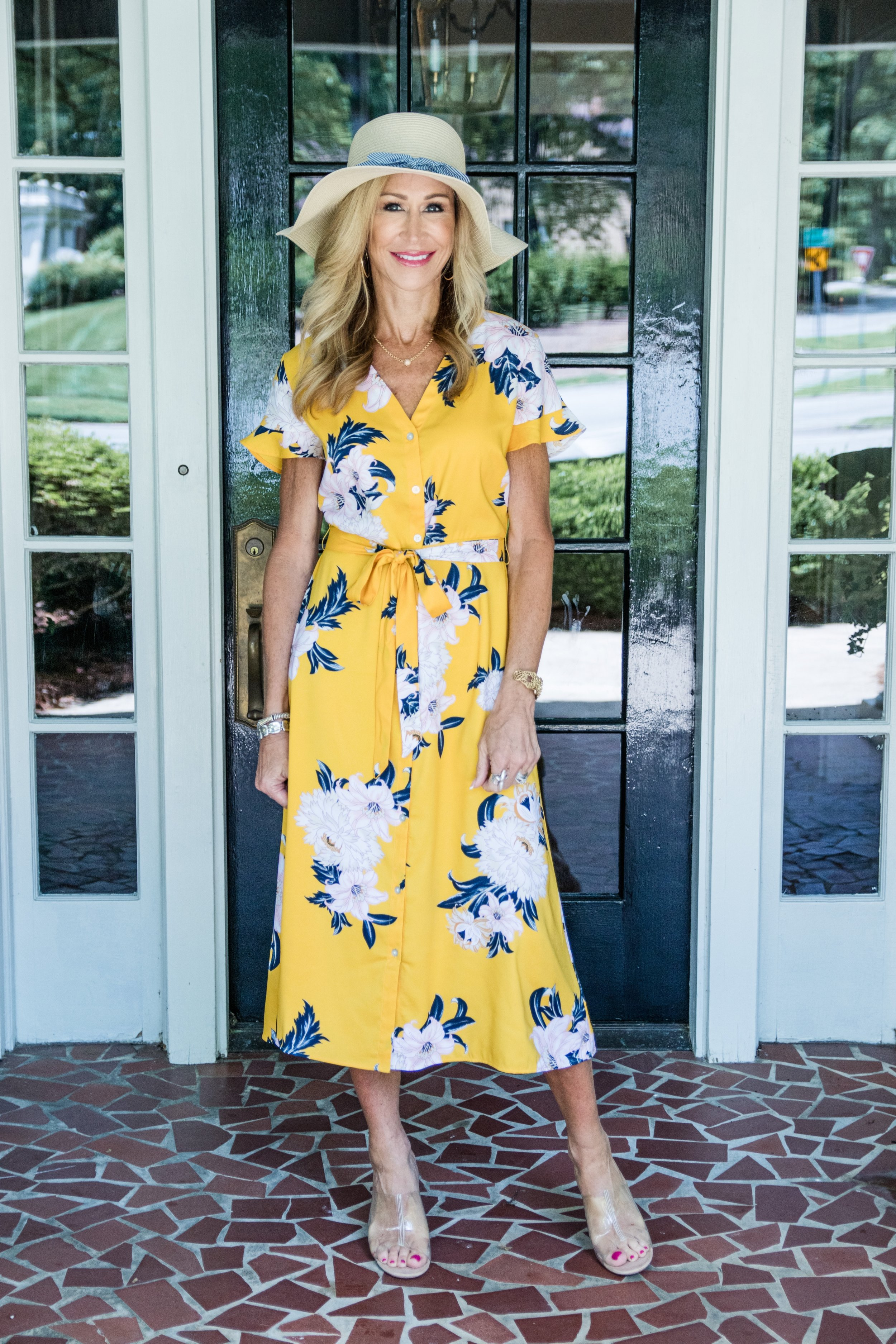 Spring Floral Dress - Loft dress and hat with Zara shoes - Crazy Blonde Life