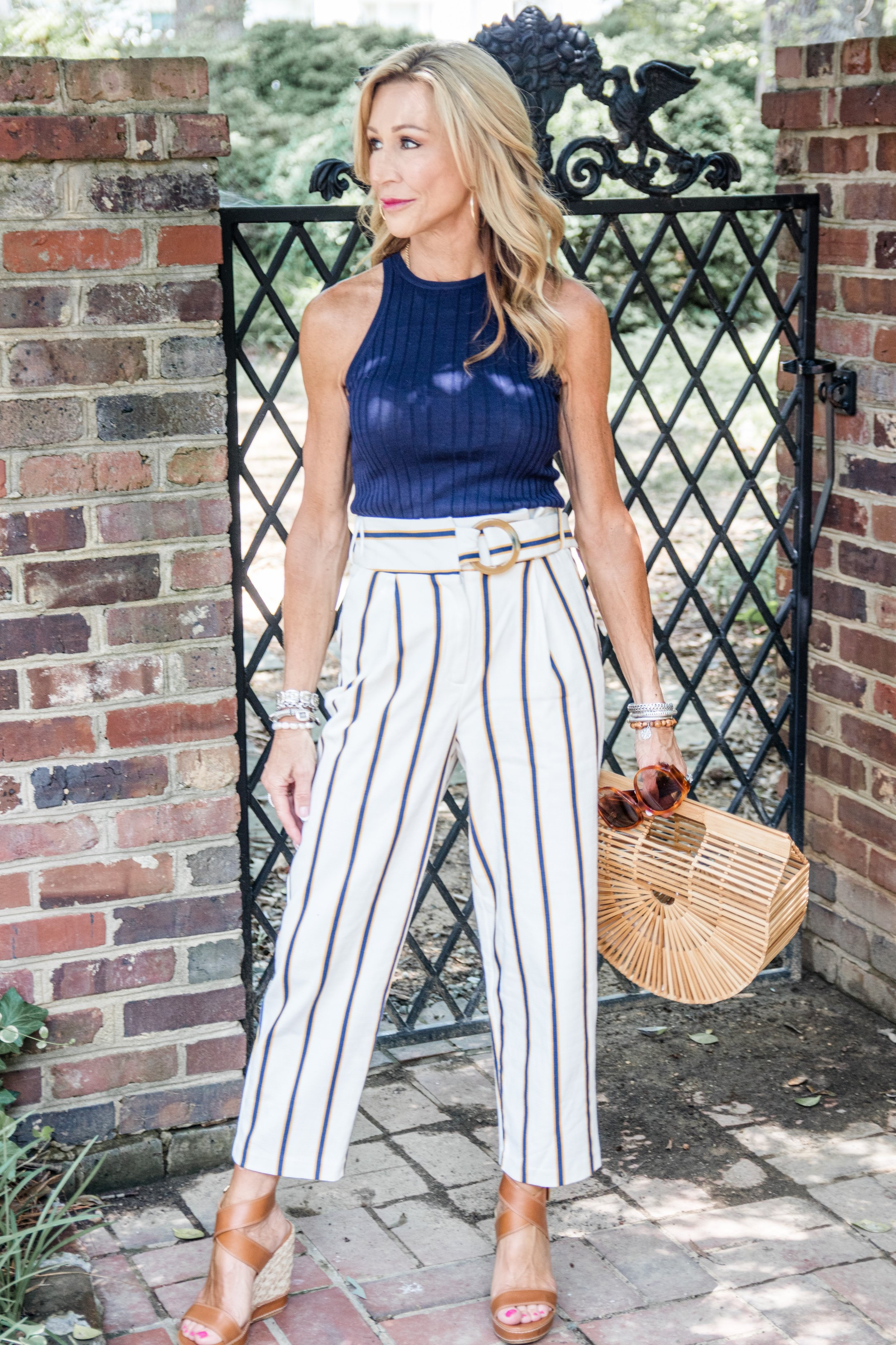 Paper Bag Pants from Top Shop - Trina Turk top - Crazy Blonde Style