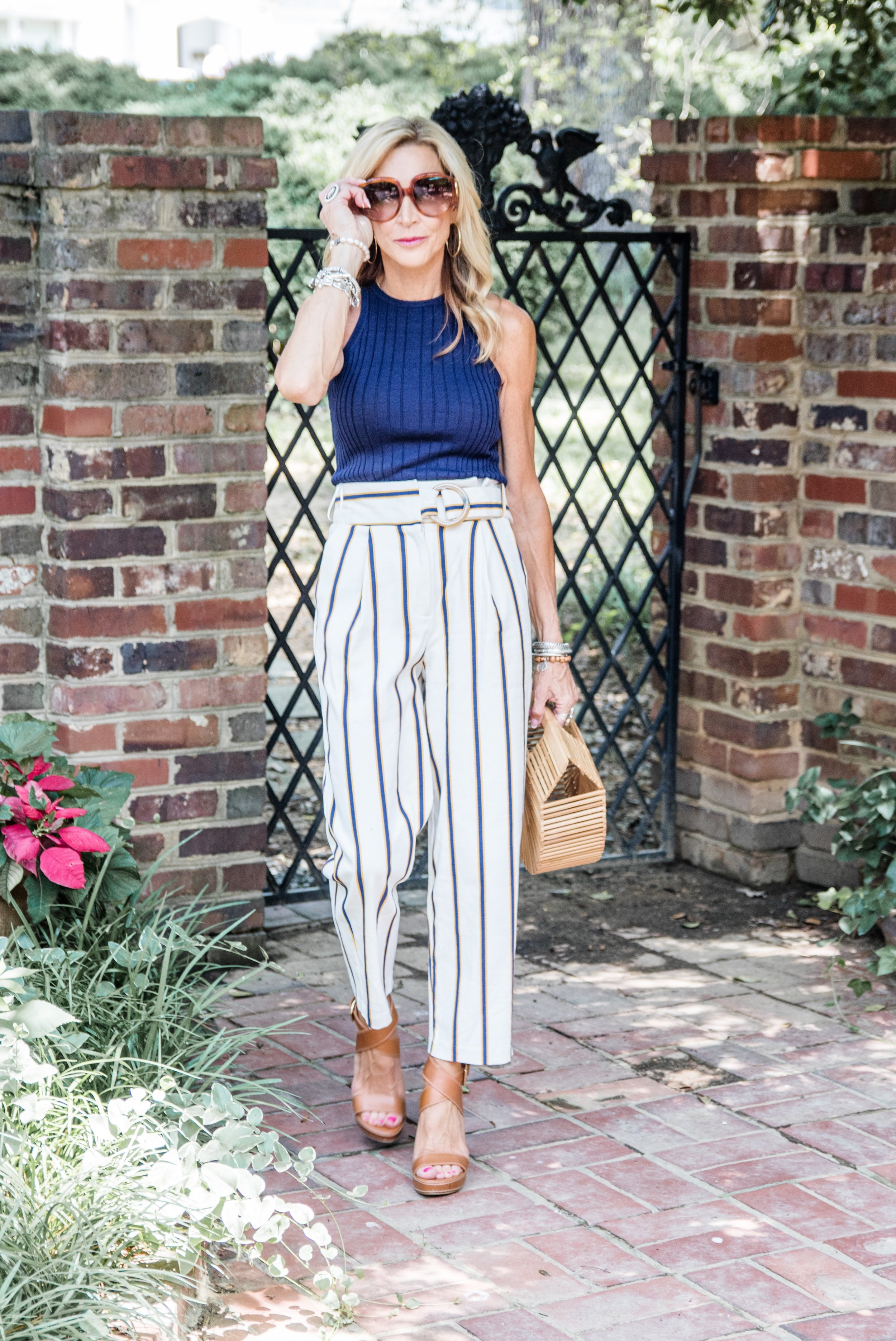Paper Bag Pants from Top Shop with Trina Turk top - Crazy Blonde Life