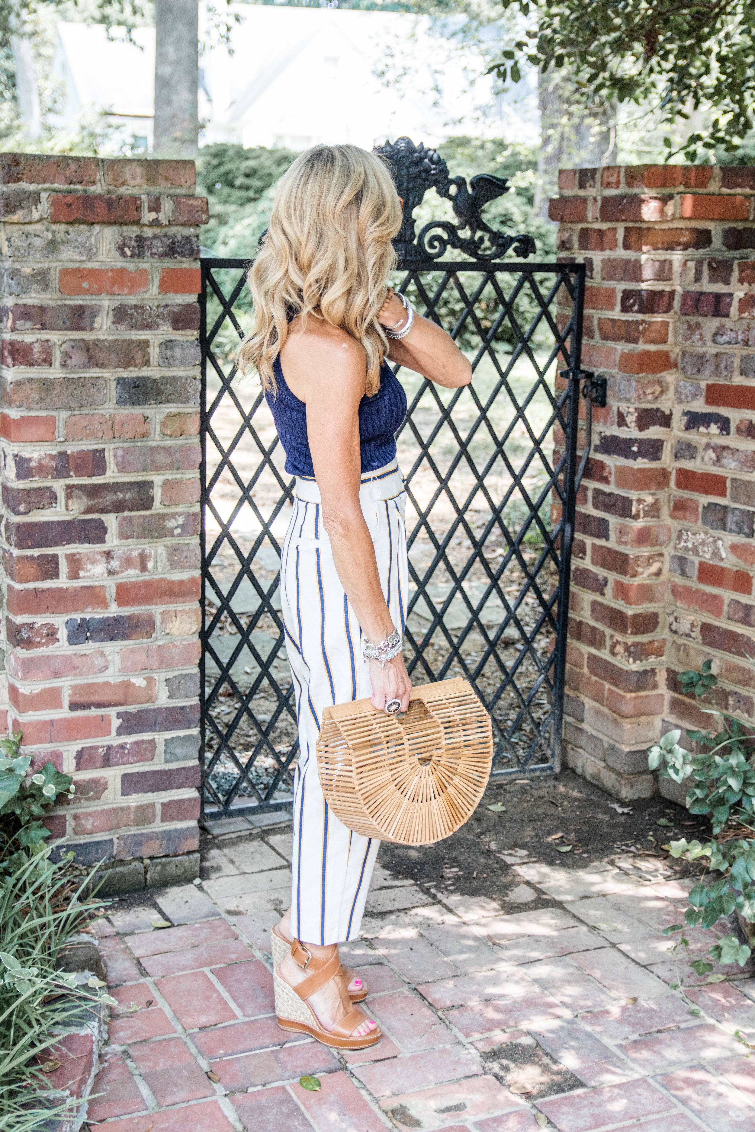 Top Shop Paper Bag Pants with Trina Turk top - Crazy Blonde Life