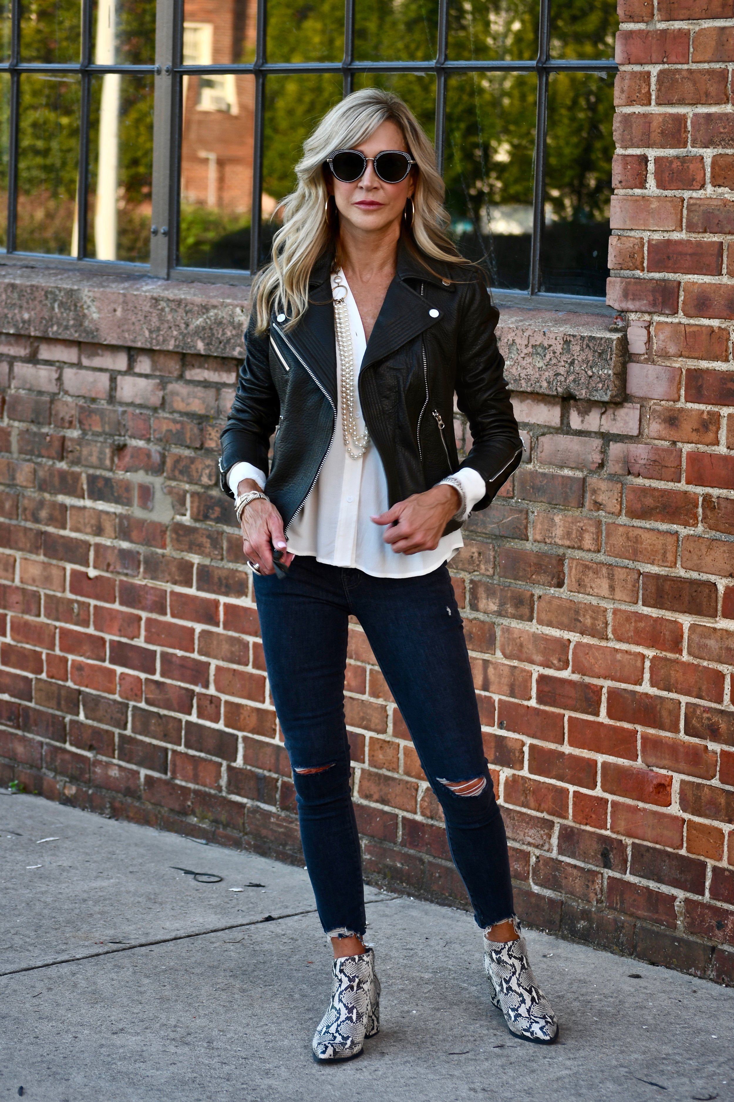 Leather Jacket styled for fall - Crazy Blonde Style