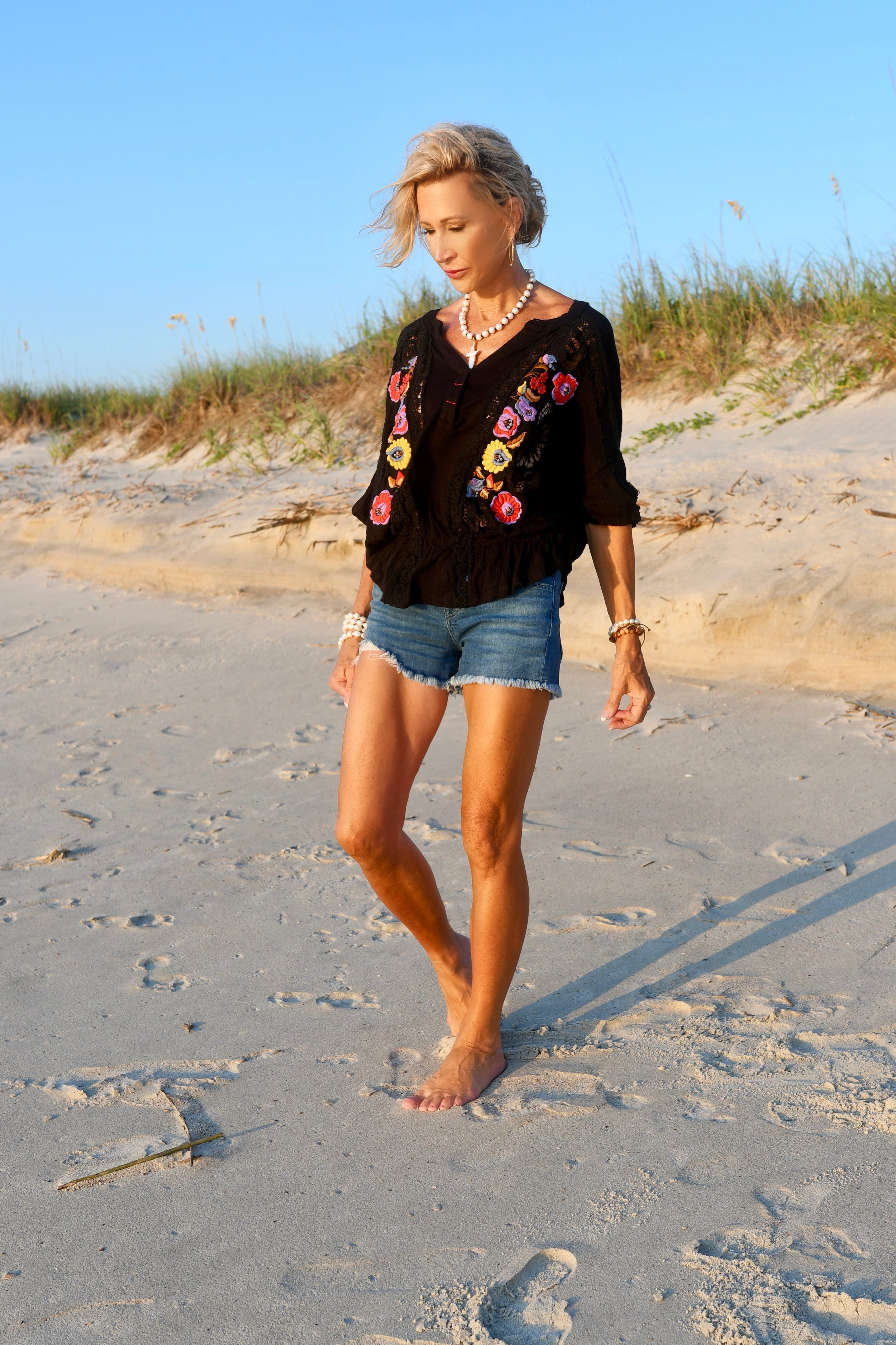 Free People Embroidered top - Crazy Blonde Life