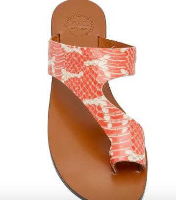 Snake Effect Leather Sandals - Moda Operandi