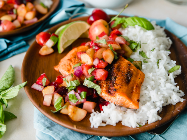 Grilled Sockeye Salmon with Summer Stone Fruit Salsa