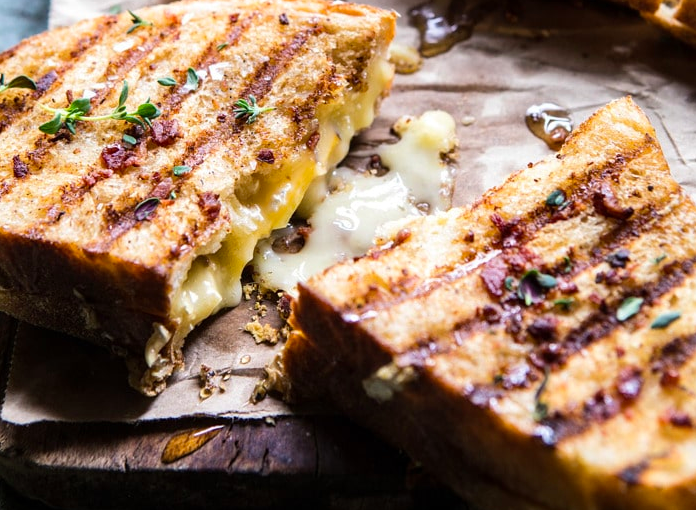 Honey, Peach, and Brie Panini with Bacon Butter
