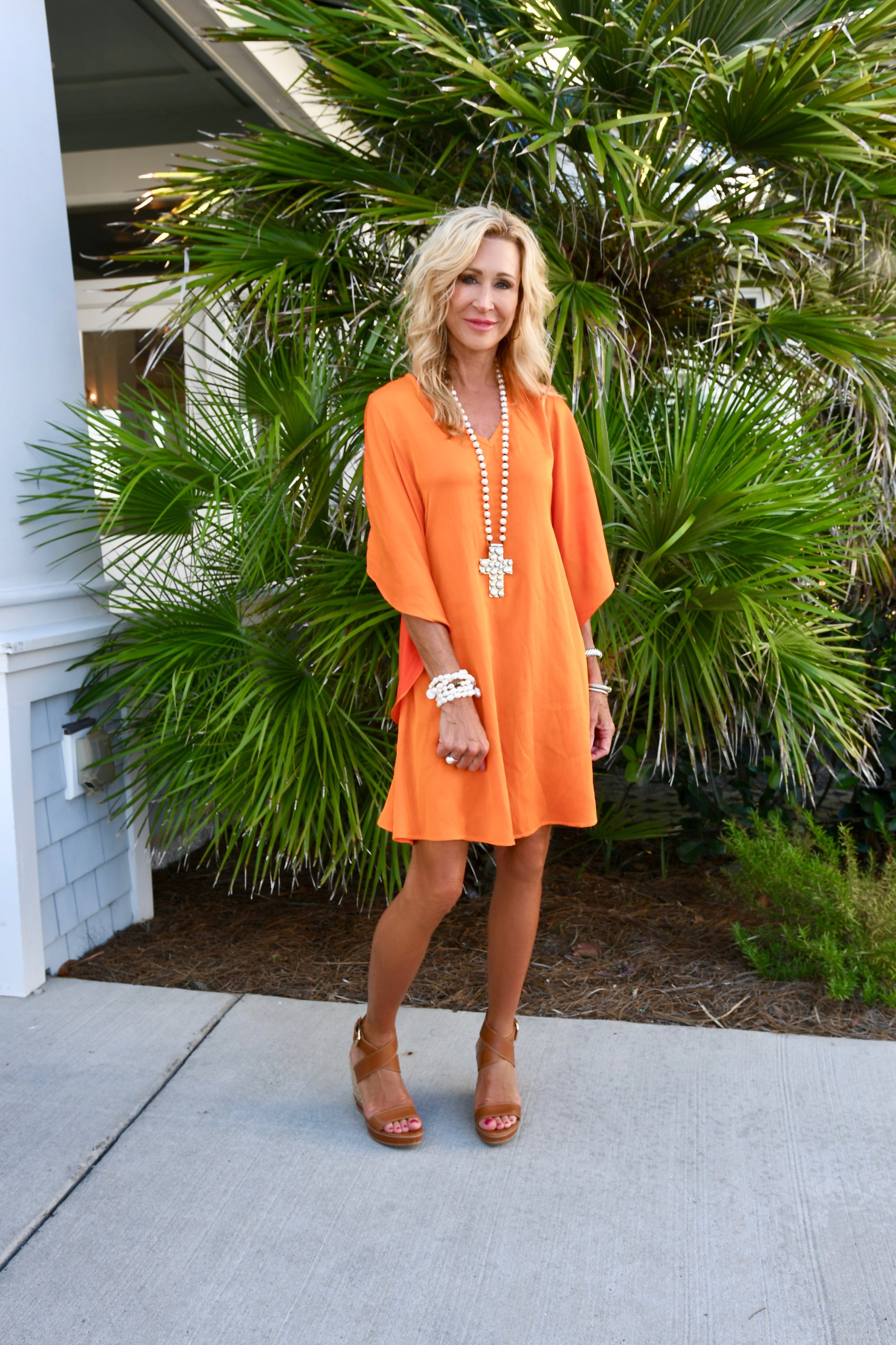 Julie Miles Dress and Cross Necklace - Beach Outfit