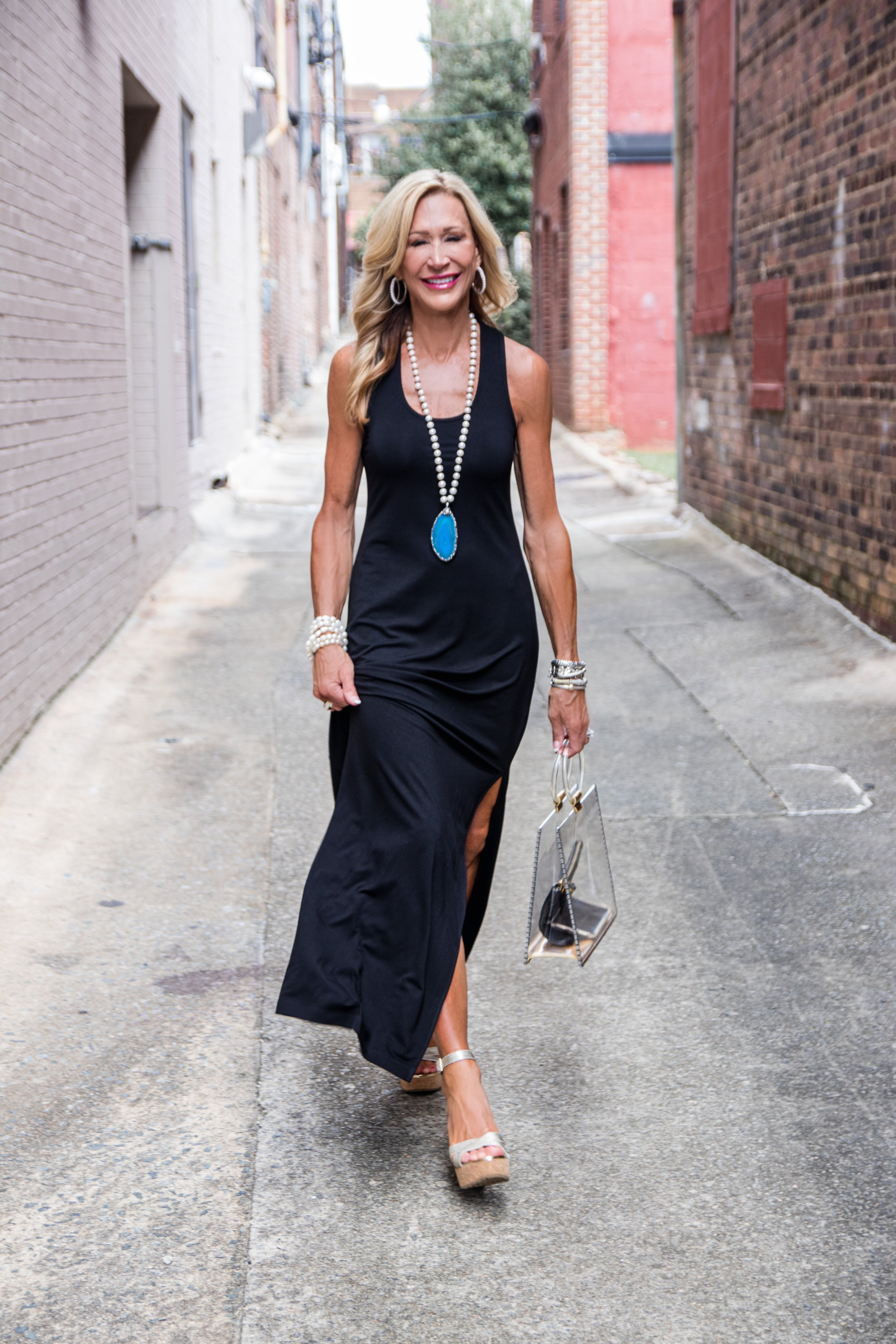 Long black dress with Julie Miles necklace - Summer Style by Crazy Blonde Life