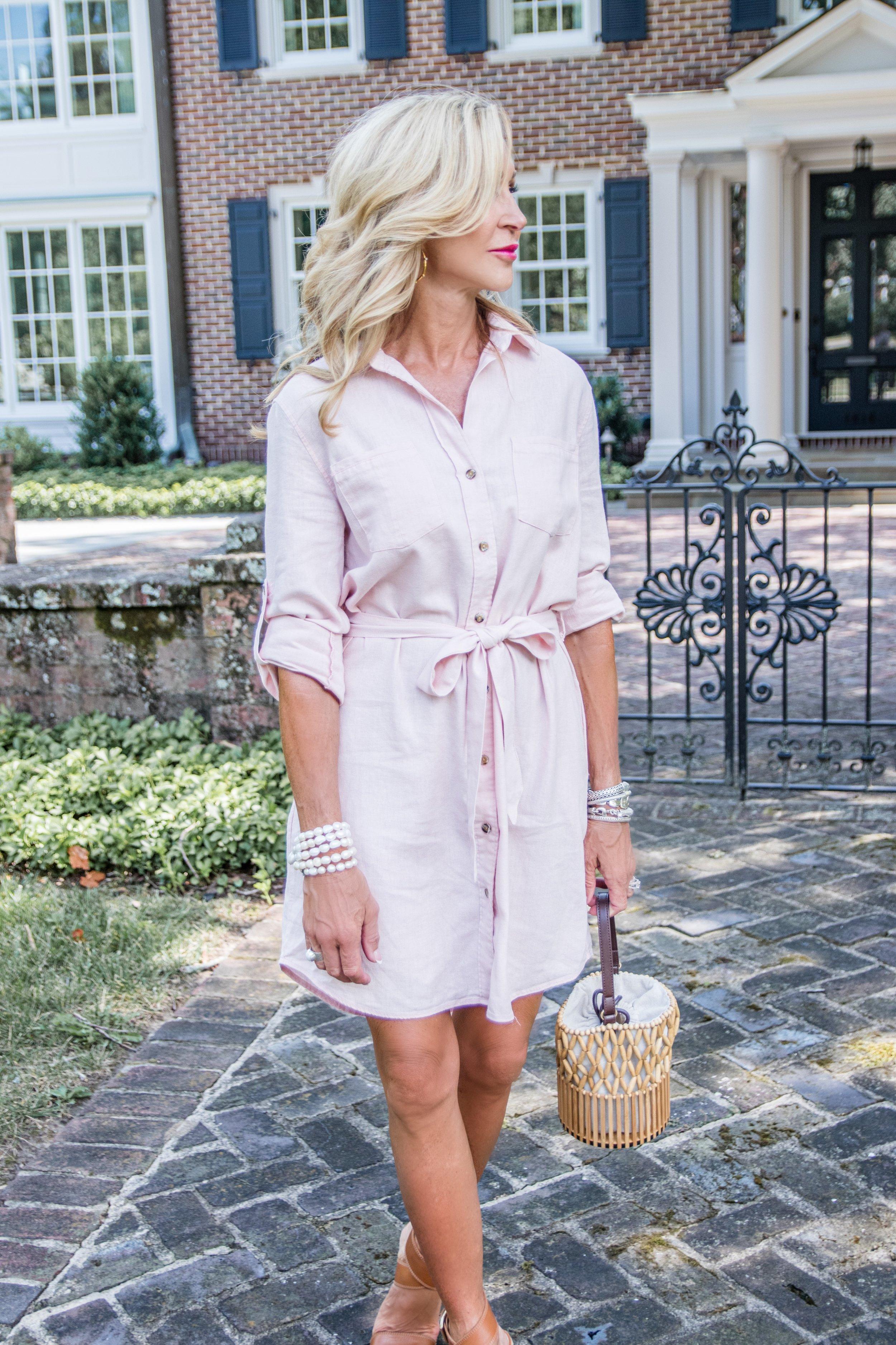 Velvet Heart pink shirtdress - Crazy Blonde Style