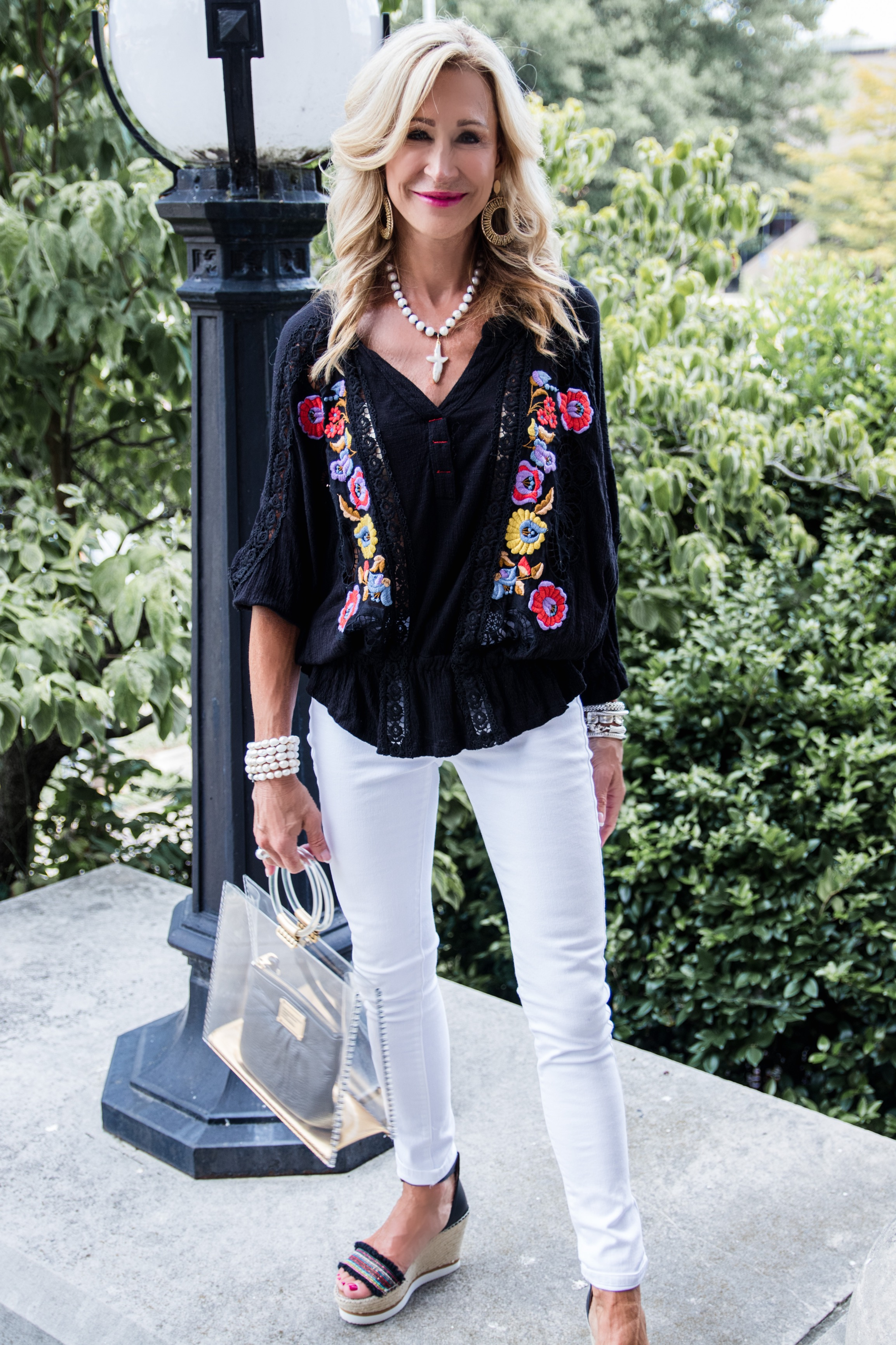 Free People boho top with white jeans - Crazy Blonde style