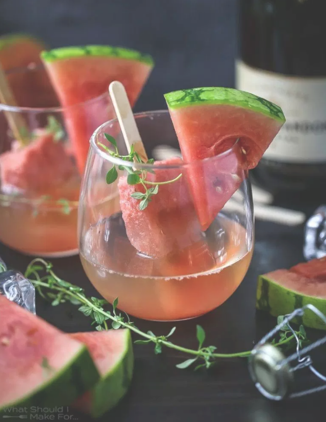 Watermelon Champagne Popsicles via What Should I Make For