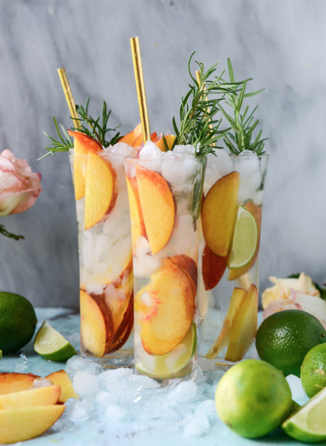 Fresh Peach Gin and Tonic via How Sweet Eats
